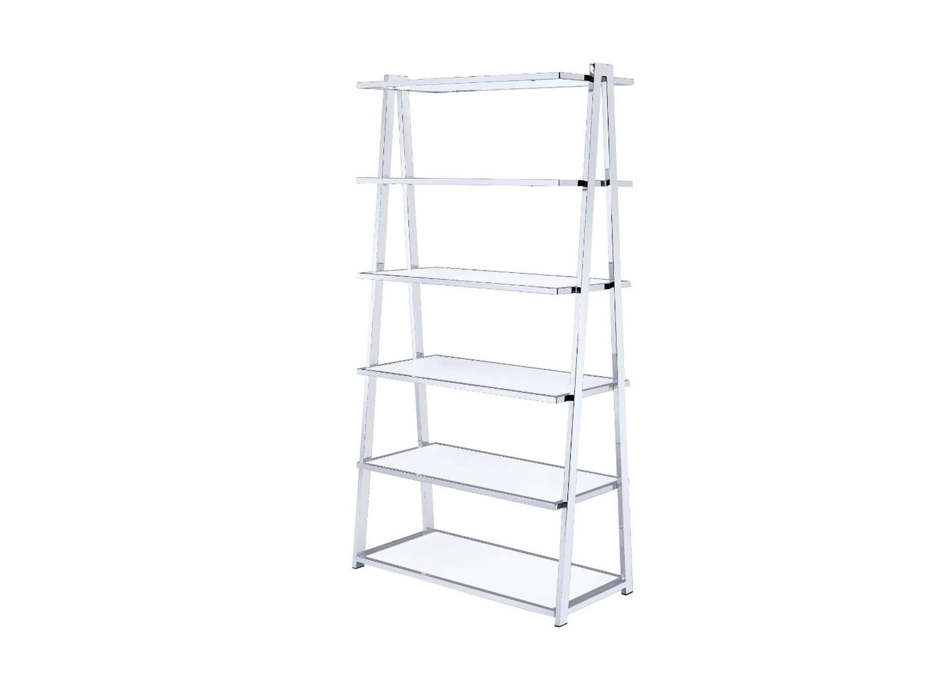 Coleen White High Gloss & Chrome Bookshelf,Acme