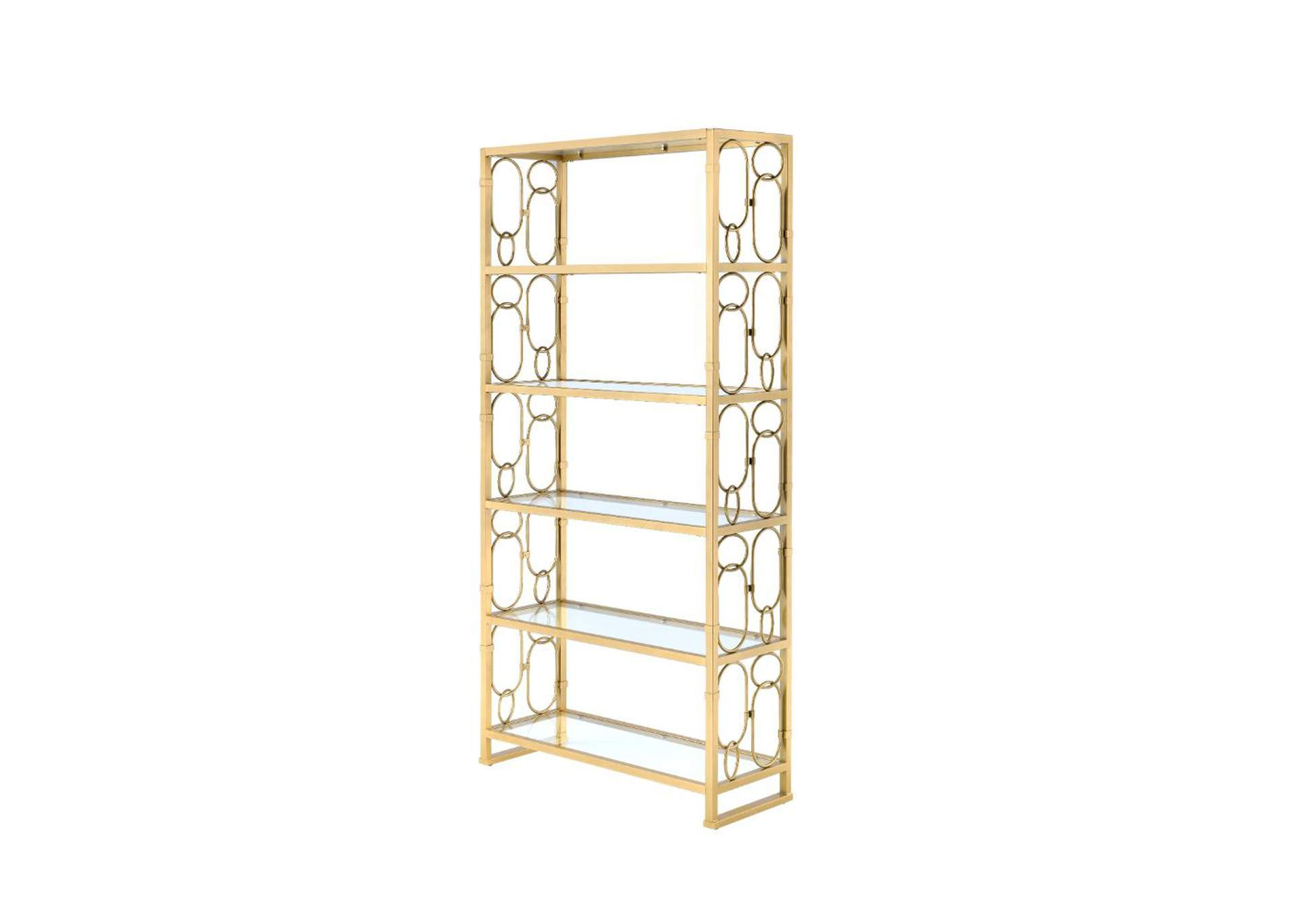Milavera Gold & Clear Glass Bookshelf,Acme