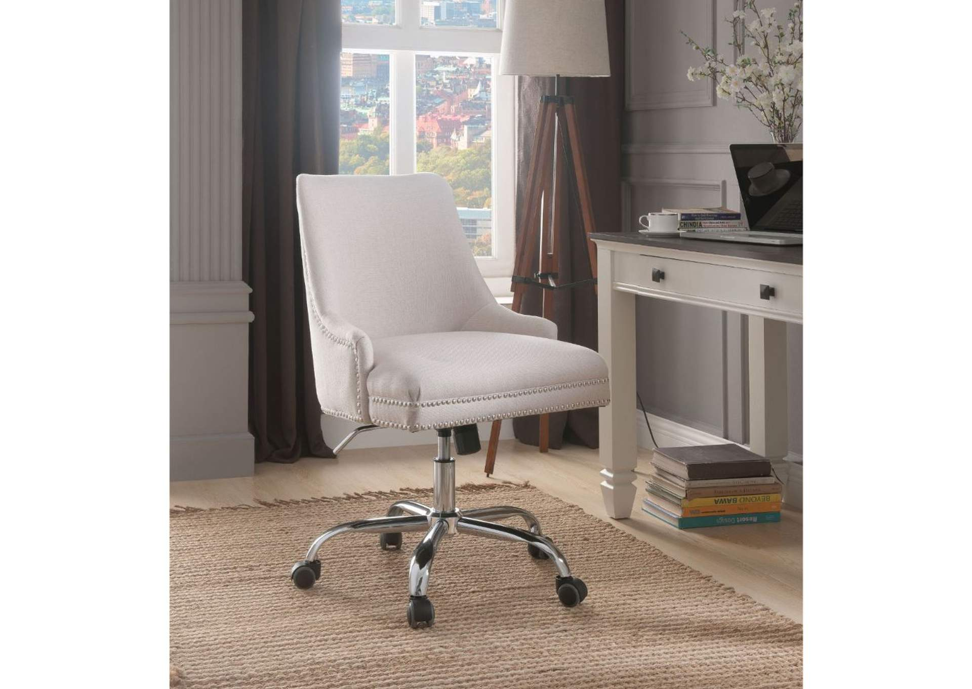 Yuval Beige Linen & Chrome Office Chair,Acme