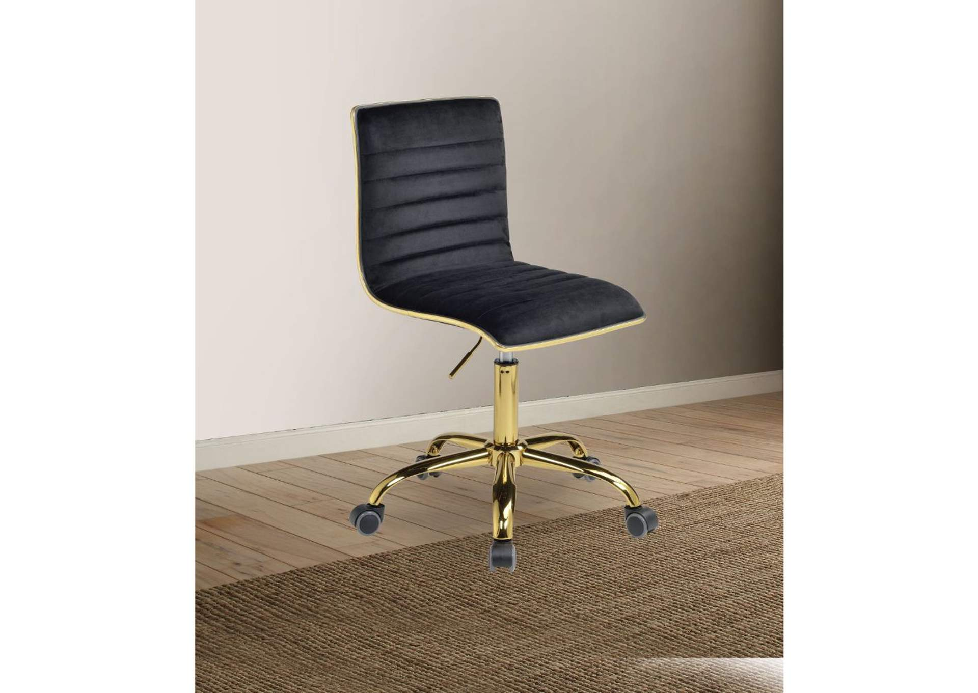 Alessio Black Velvet & Gold Office Chair,Acme