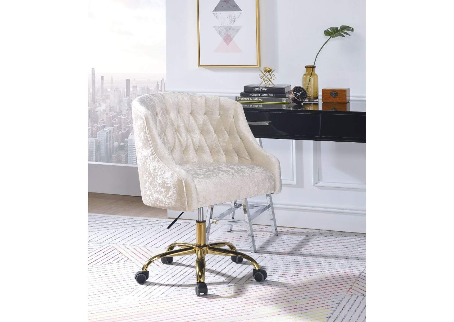 Levian Vintage Cream Velvet & Gold Office Chair,Acme