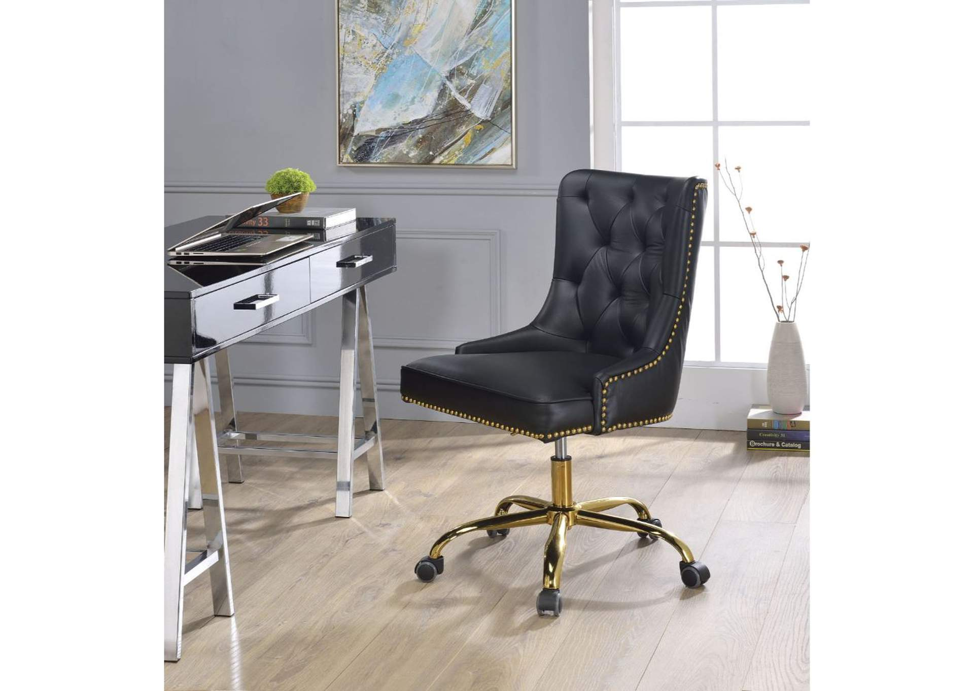 Purlie Black PU & Gold Office Chair,Acme