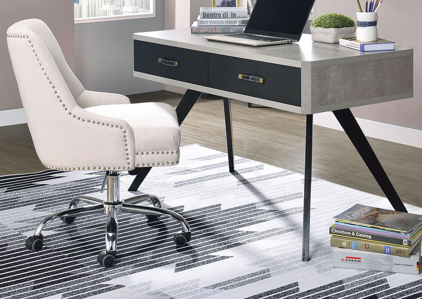 Magna Faux Concrete/Black Desk,Acme
