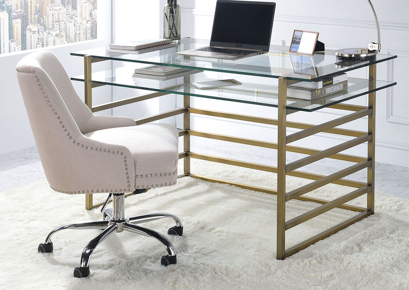 Shona Antique Gold/Clear Glass Desk,Acme