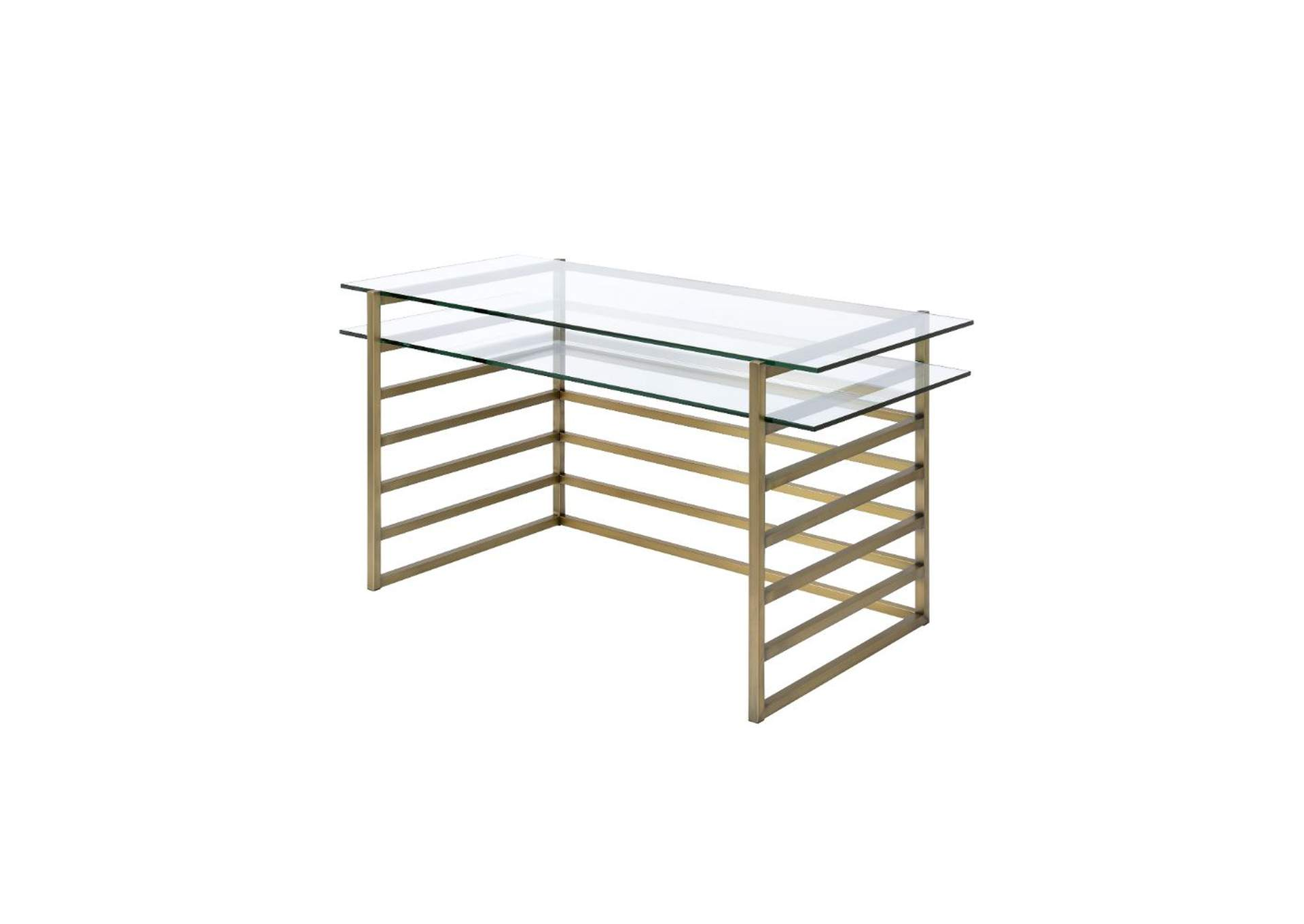 Shona Antique Gold & Clear Glass Desk,Acme