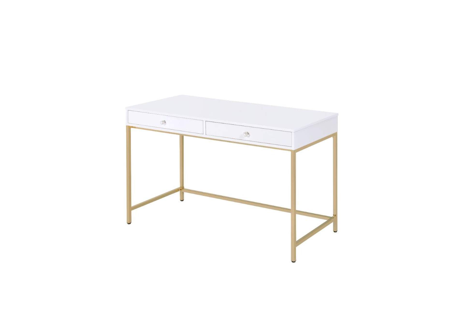 Ottey White High Gloss & Gold Desk,Acme