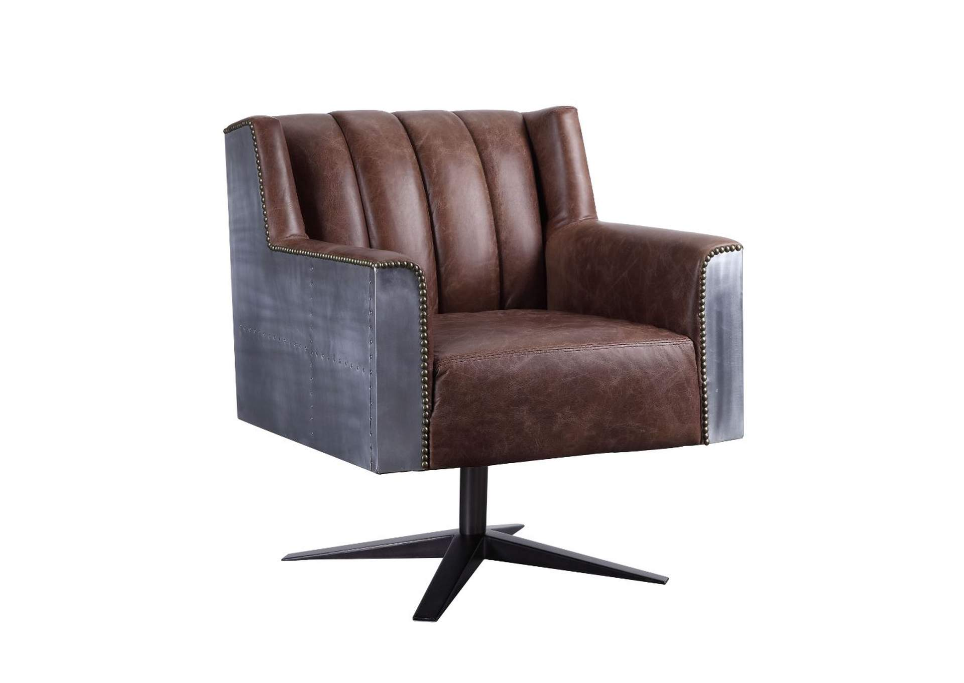 Brancaster Retro Brown Top Grain Leather & Aluminum Executive Office Chair,Acme