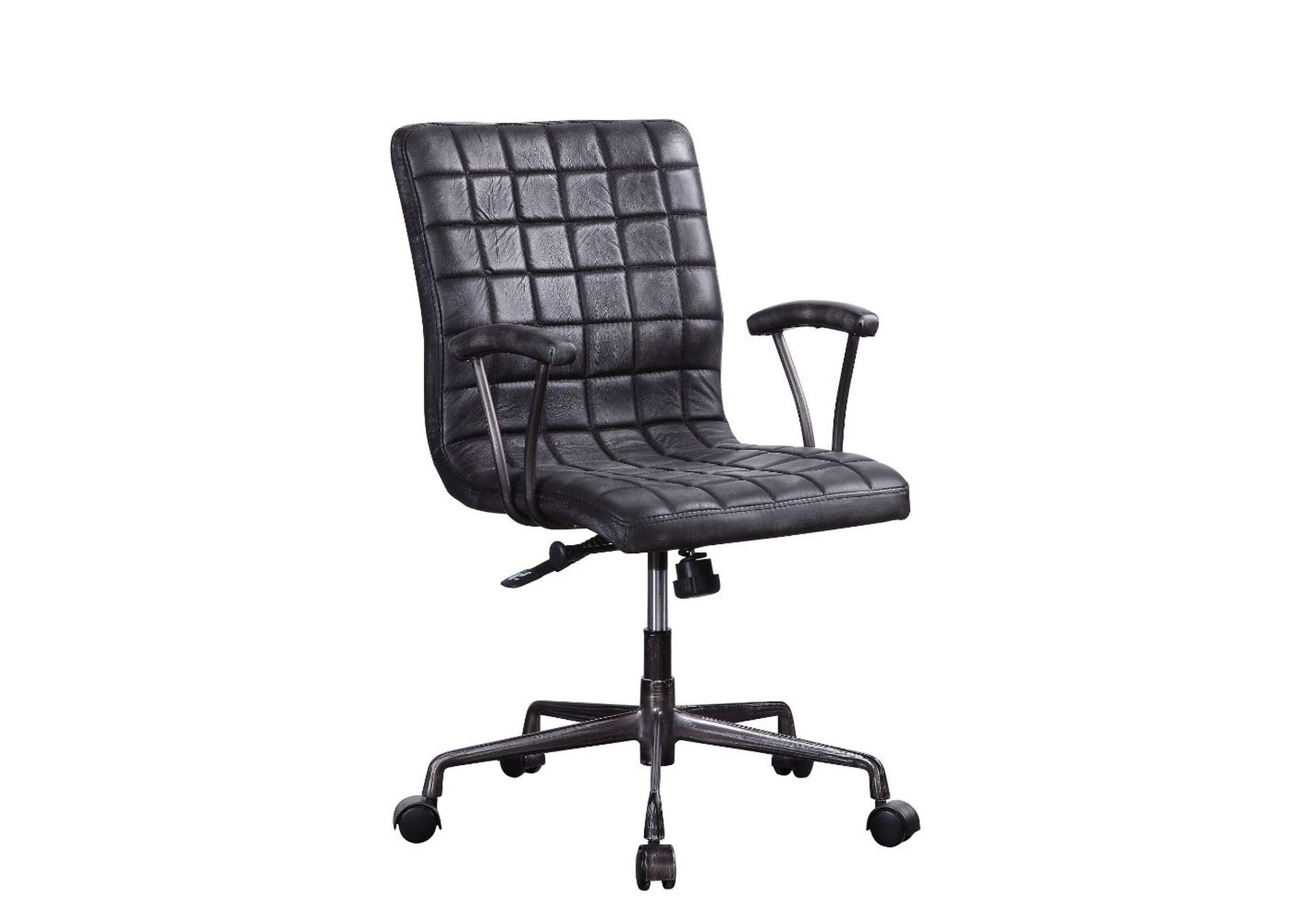 Barack Vintage Black/Aluminum Office Chair,Acme