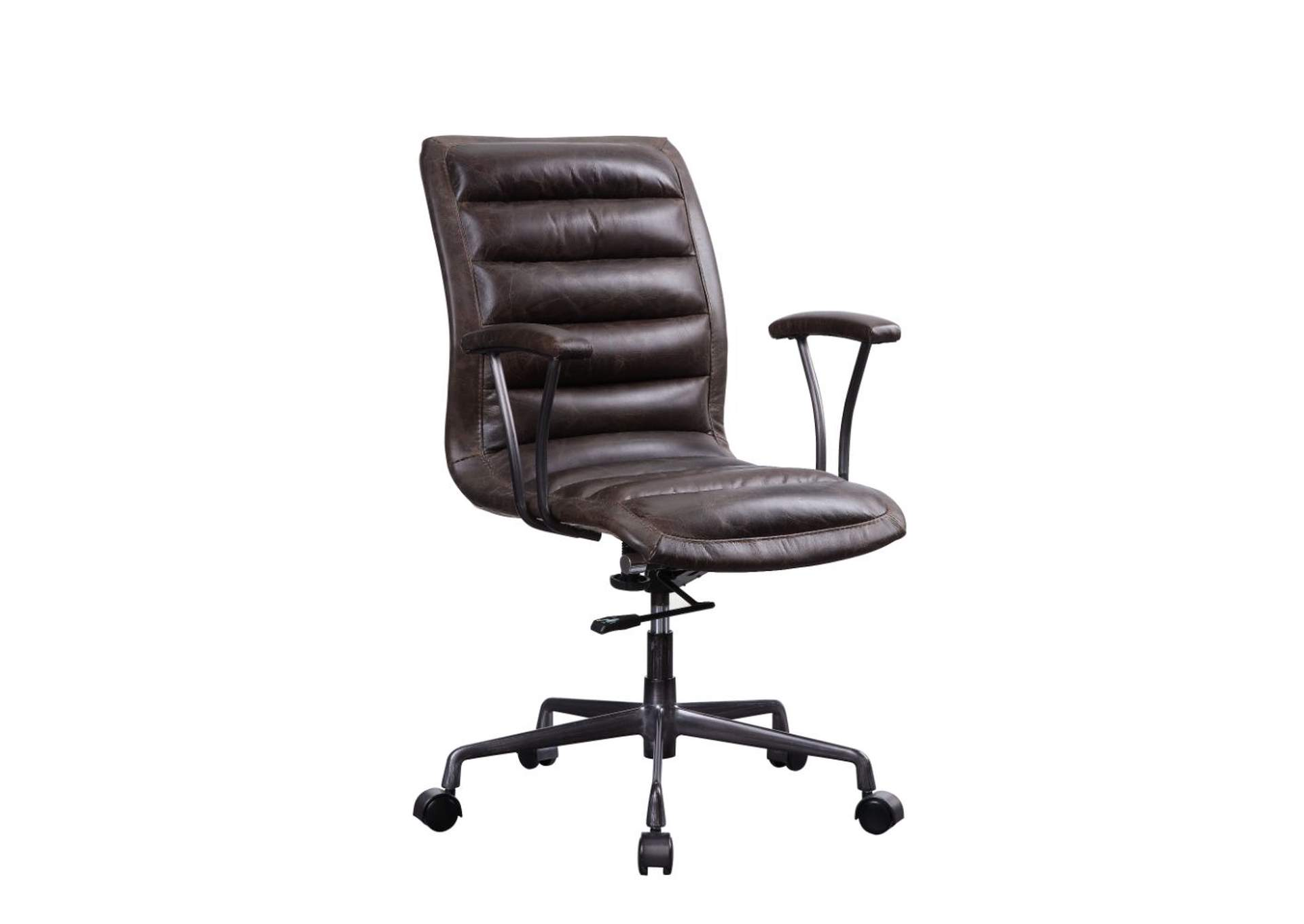 Zooey Distress Chocolate Top Grain Leather Executive Office Chair,Acme