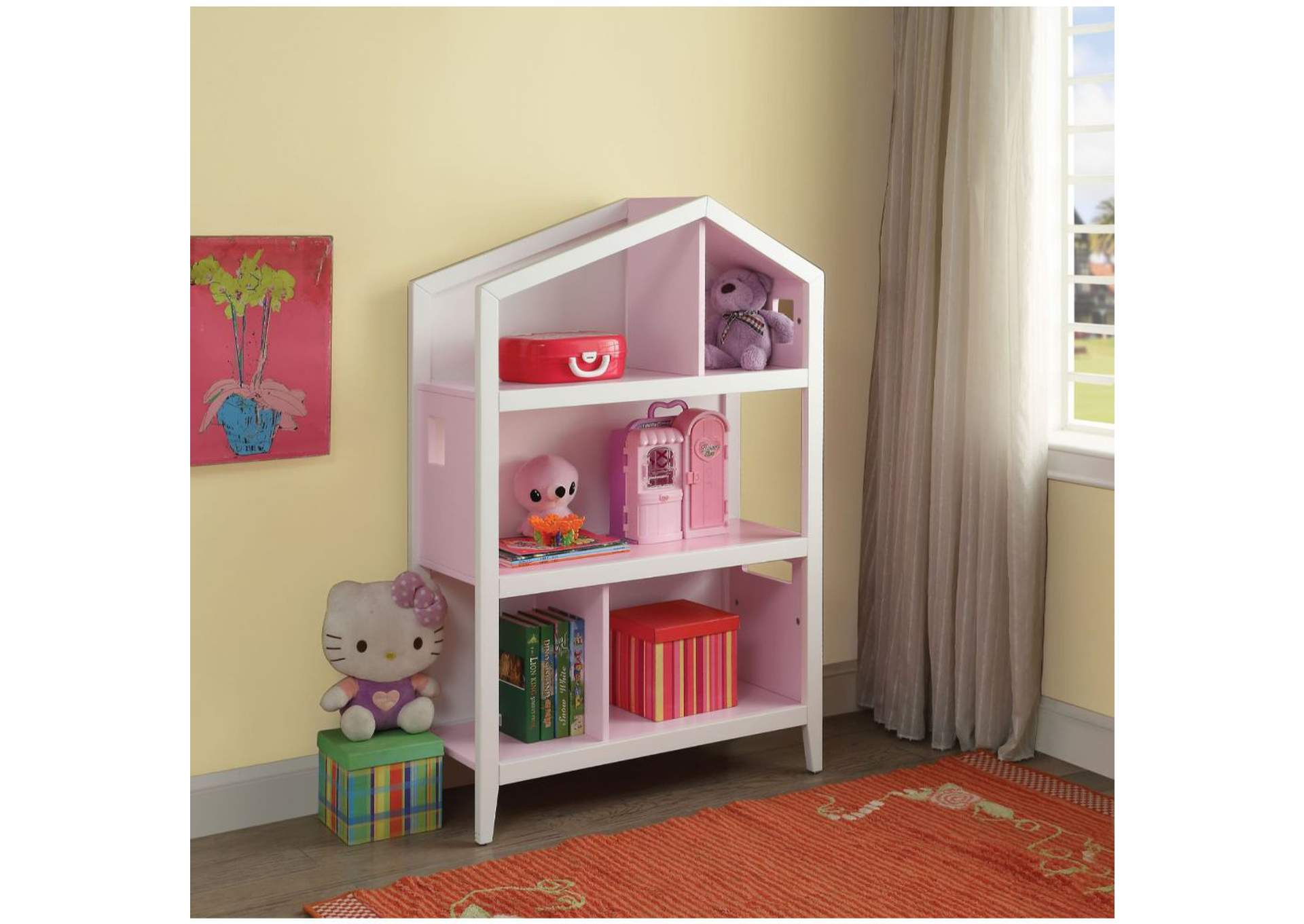 Doll Cottage White/Pink Bookcase,Acme