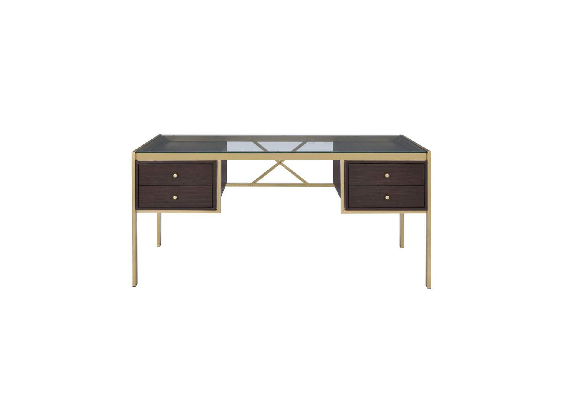 Yumia Gold & Clear Glass Desk,Acme