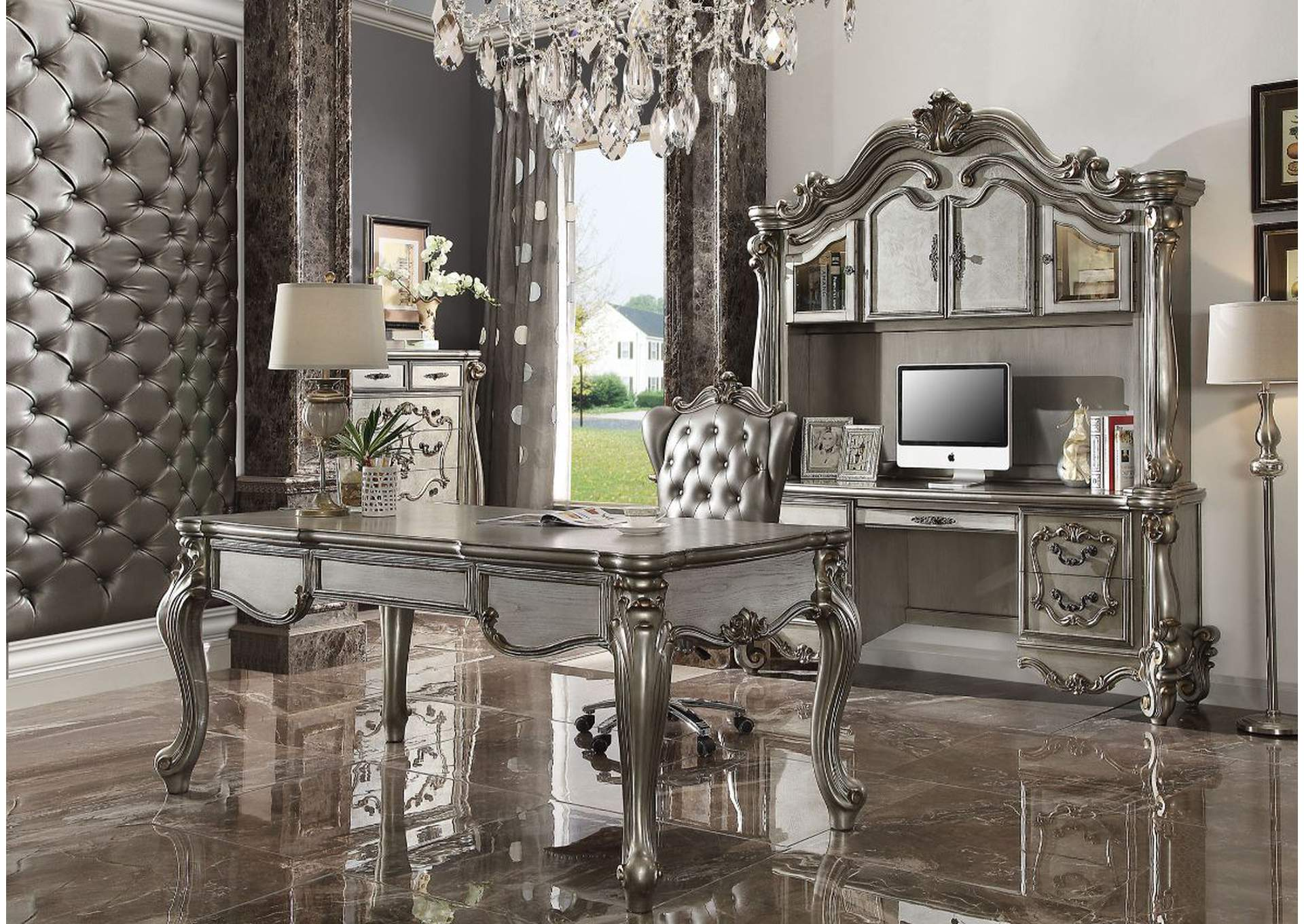 Versailles Antique Platinum Executive Desk,Acme