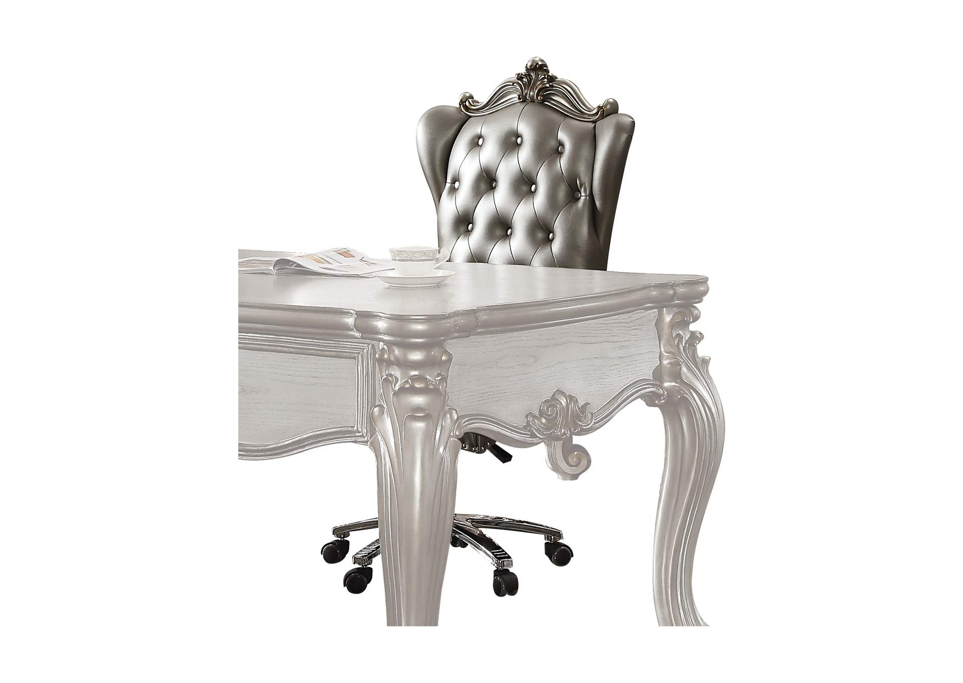Versailles Silver PU & Antique Platinum Executive Office Chair,Acme