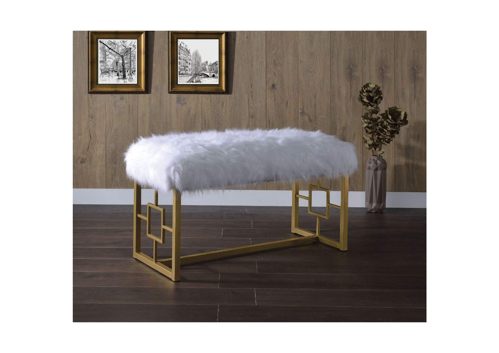 Bagley II White Faux Fur & Gold Bench,Acme