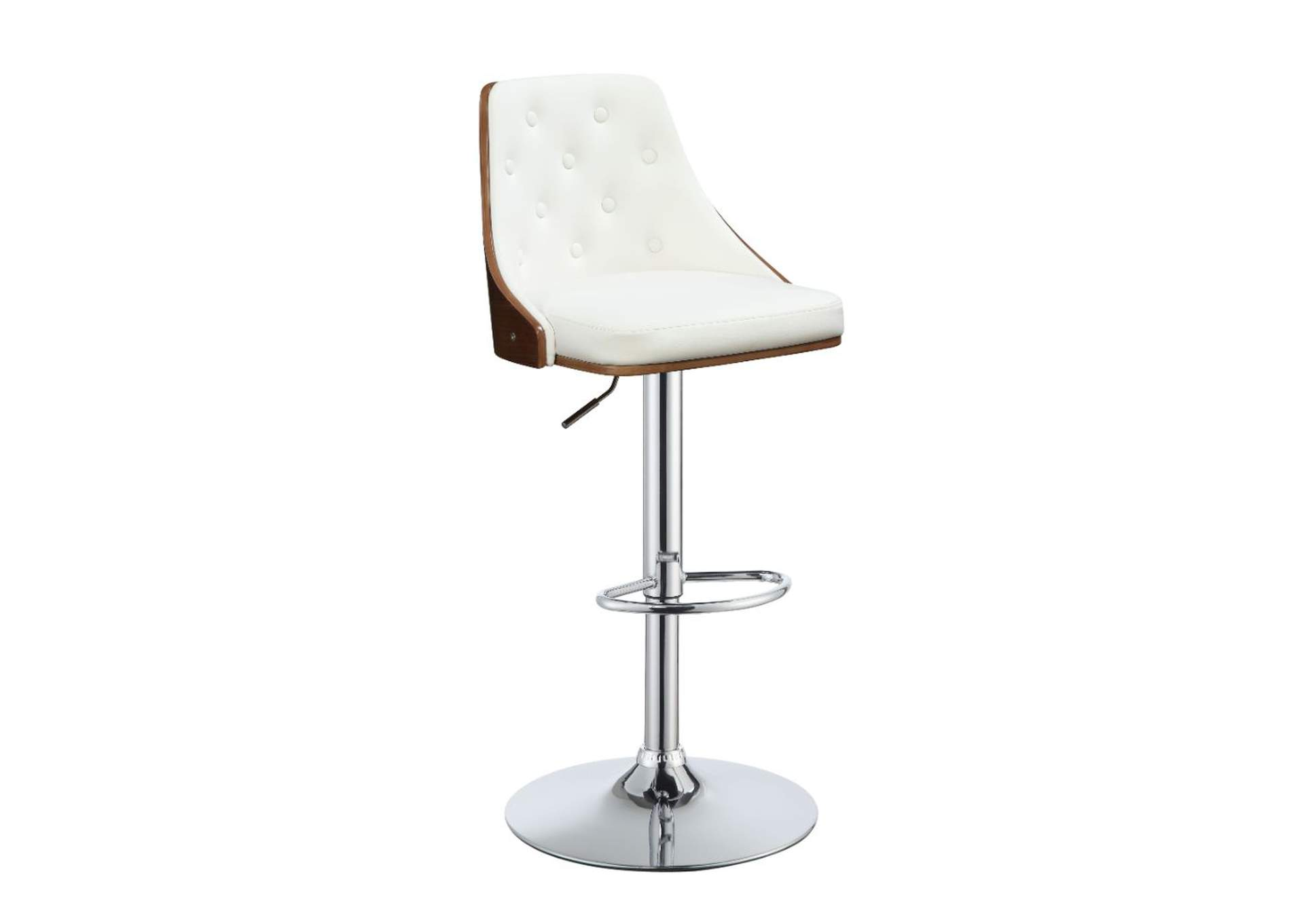 Camila White/Walnut Adjustable Stool,Acme