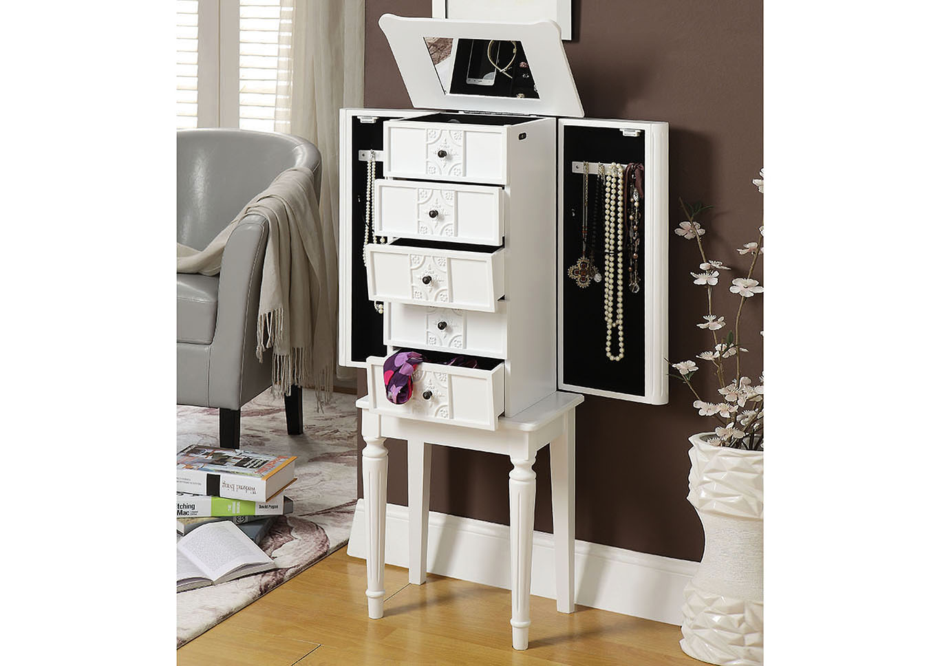 Tammy White Jewelry Armoire,Acme