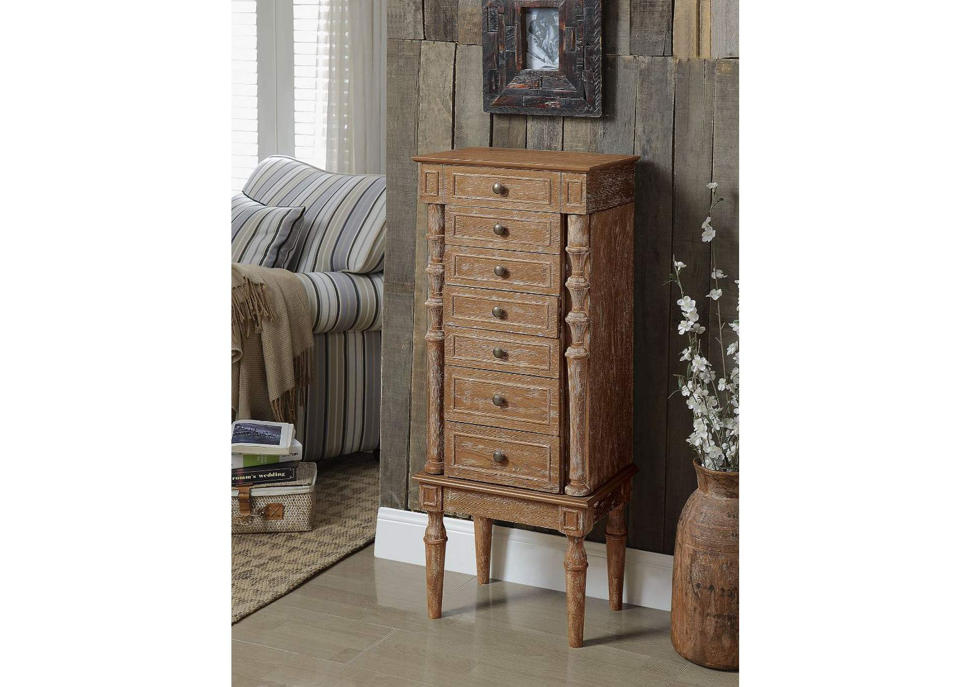 Taline Weathered Oak Jewelry Armoire,Acme