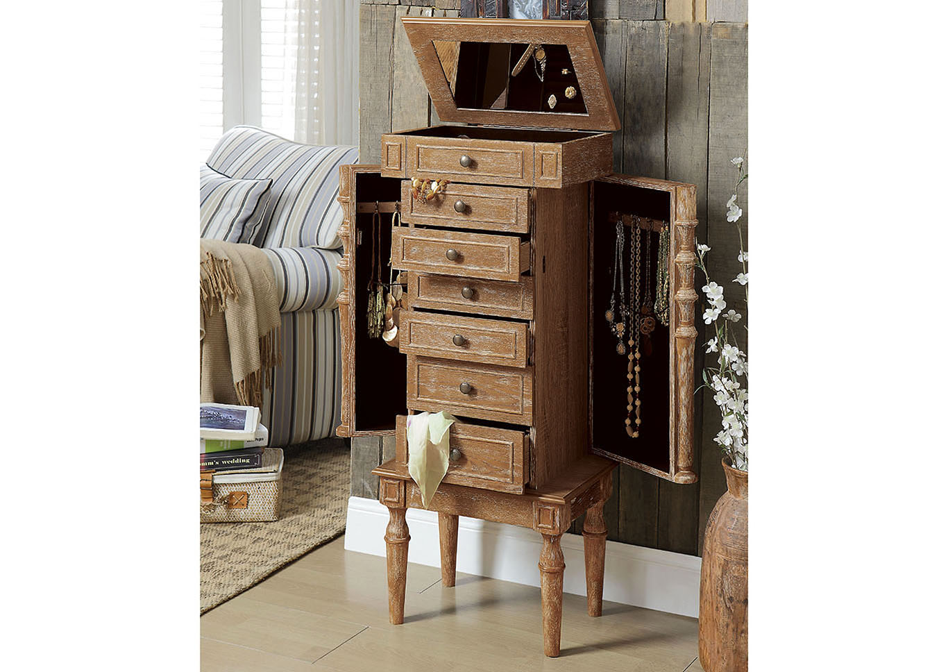 Taline Weathered Oak Jewelry Armoire Luxury Home Furniture