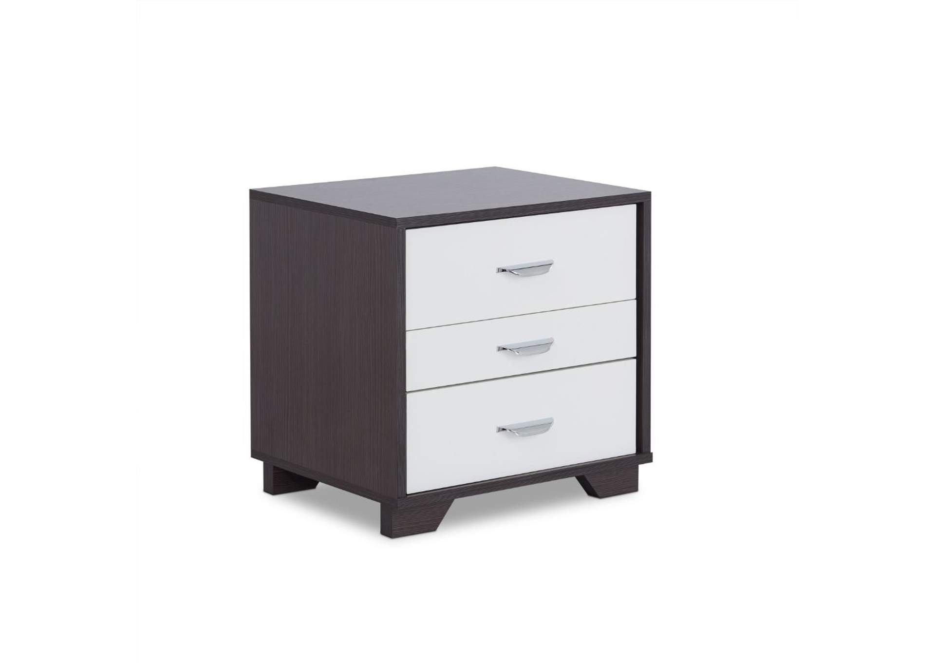 Eloy White/Black Nightstand,Acme