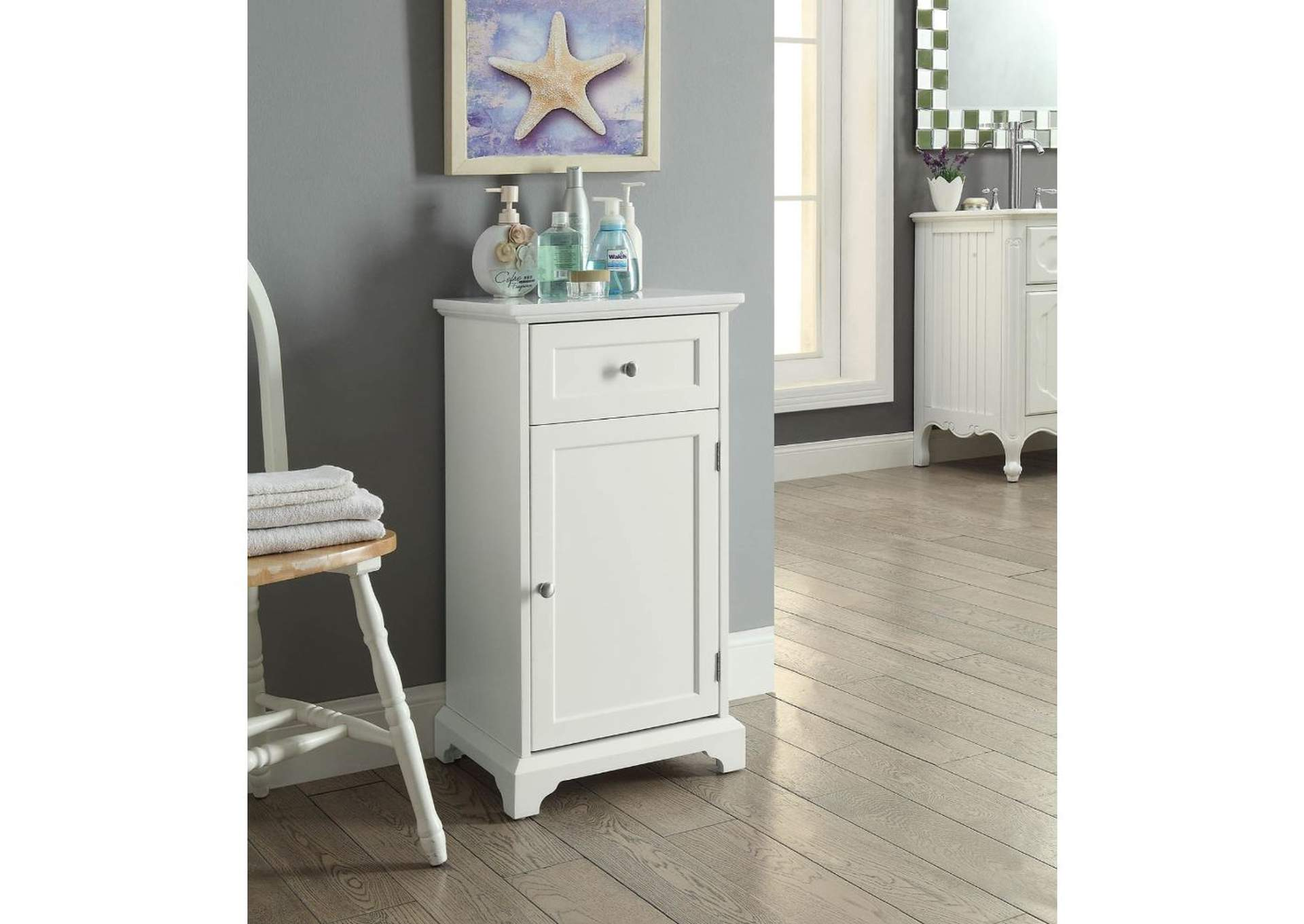 Simes Marble & White Cabinet,Acme