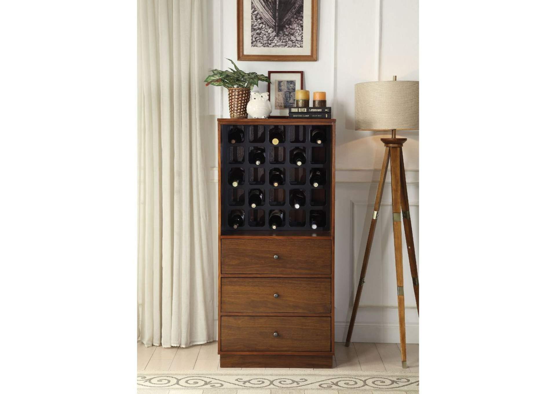 Wiesta Walnut Wine Cabinet,Acme