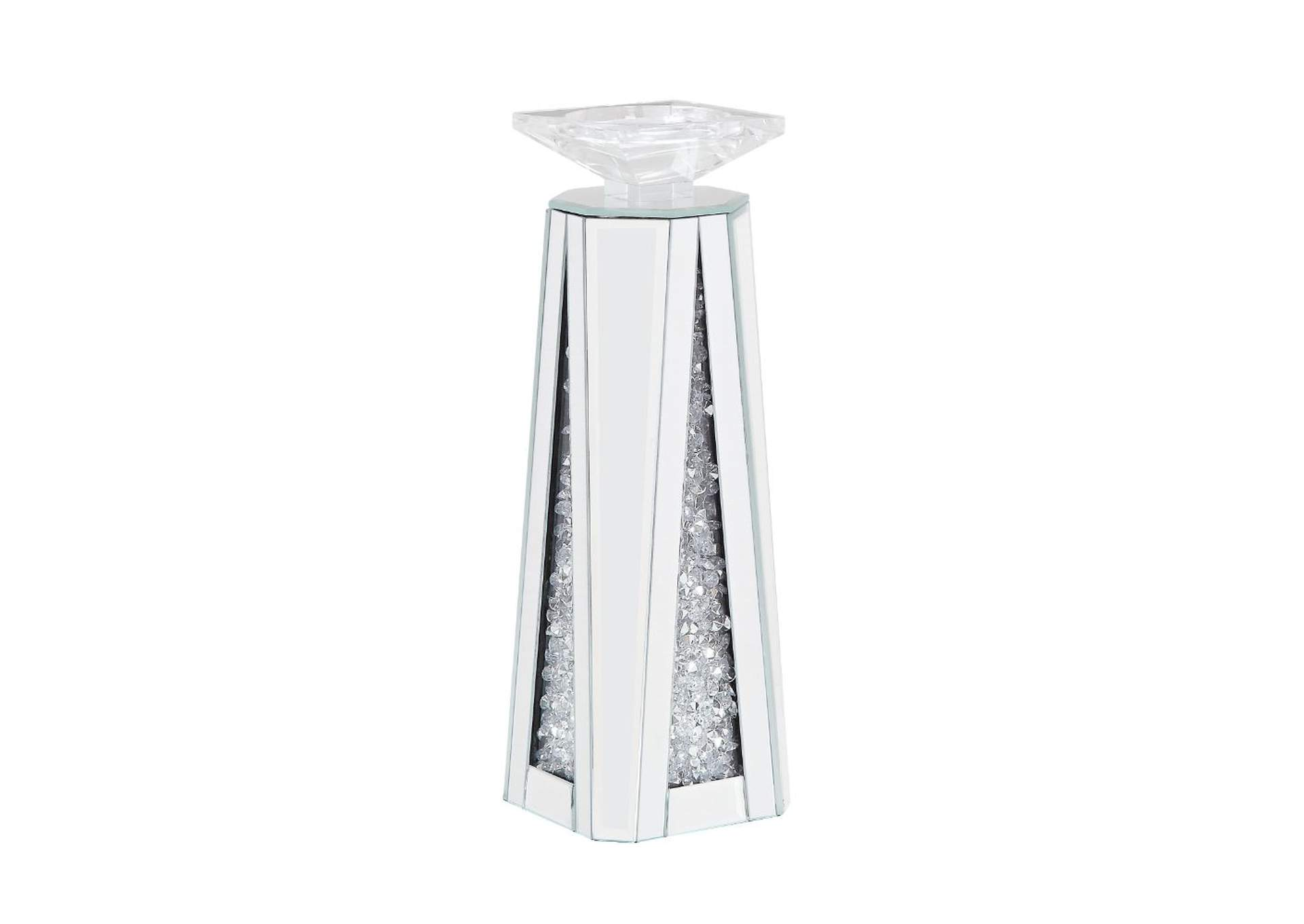 Nowles Mirrored & Faux Stones Accent Candleholder,Acme