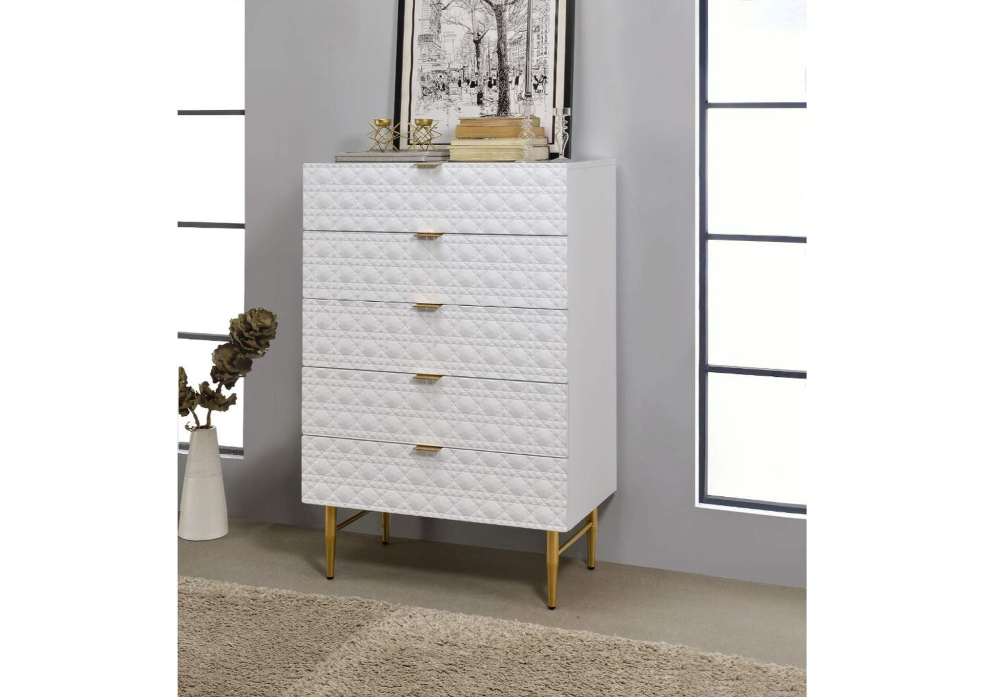 Maisey II White & Gold Chest,Acme