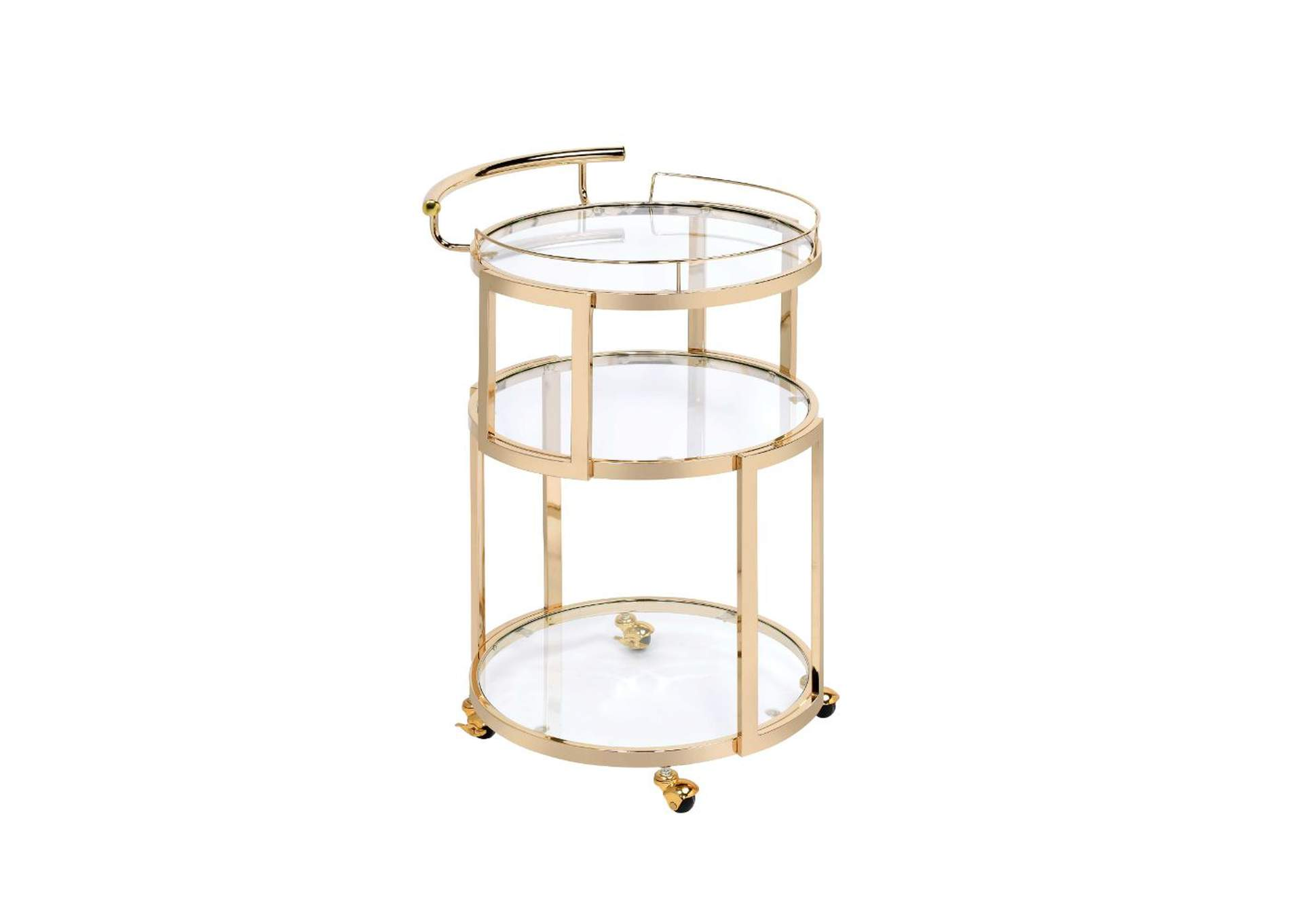 Madelina Gold/Clear Glass Serving Cart,Acme