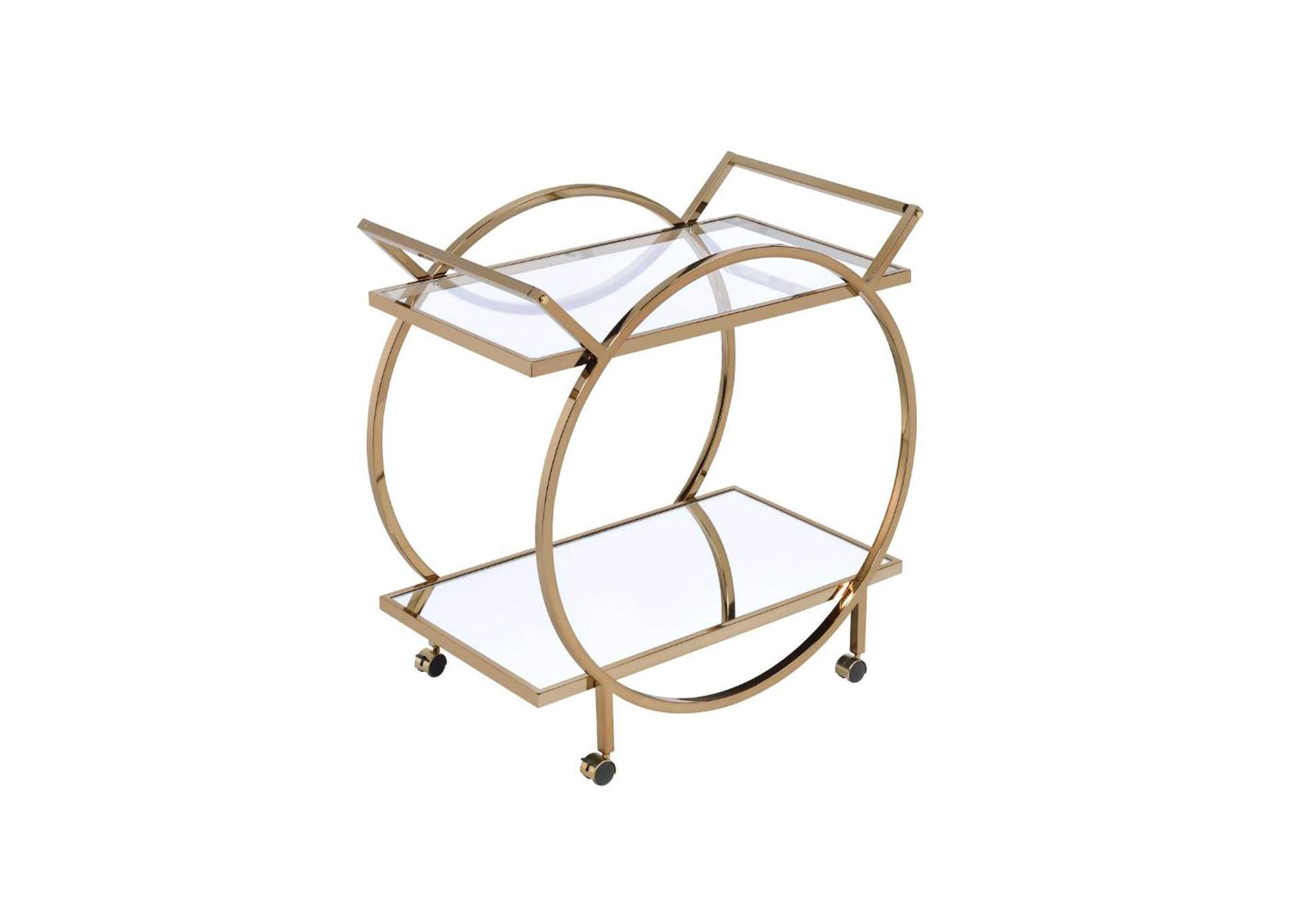 Traverse Champagne/Mirrored Serving Cart,Acme