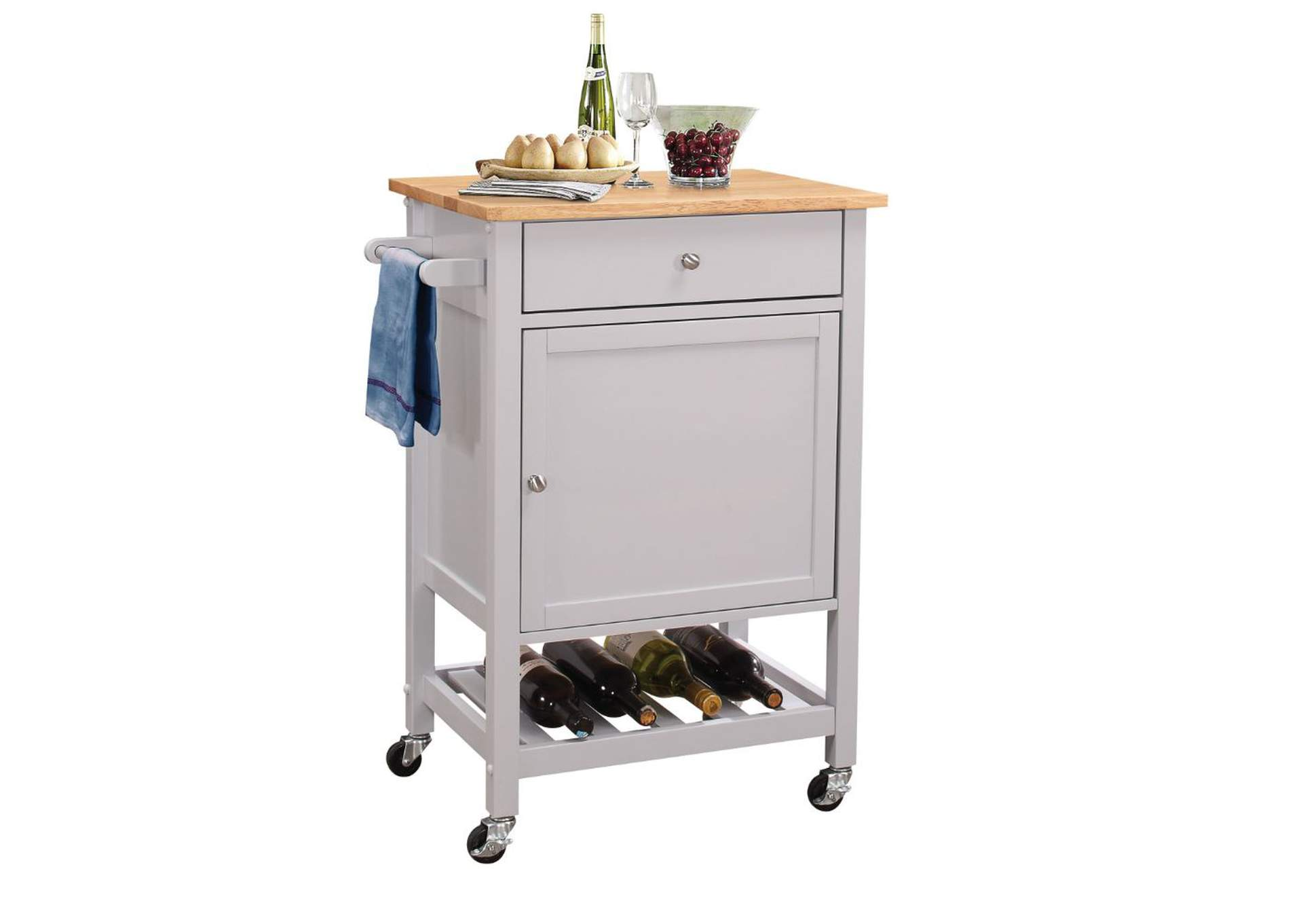Hoogzen Natural & Gray Kitchen Cart,Acme