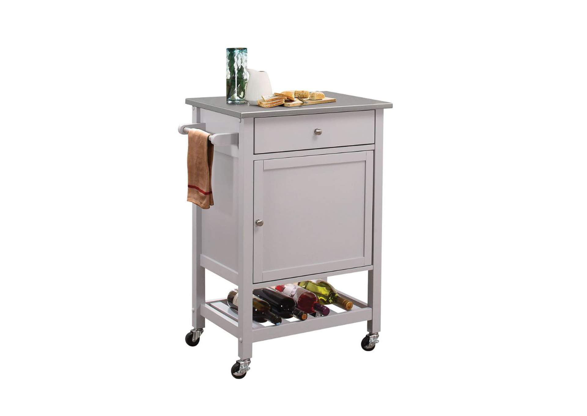 Hoogzen Stainless Steel & Gray Kitchen Cart,Acme