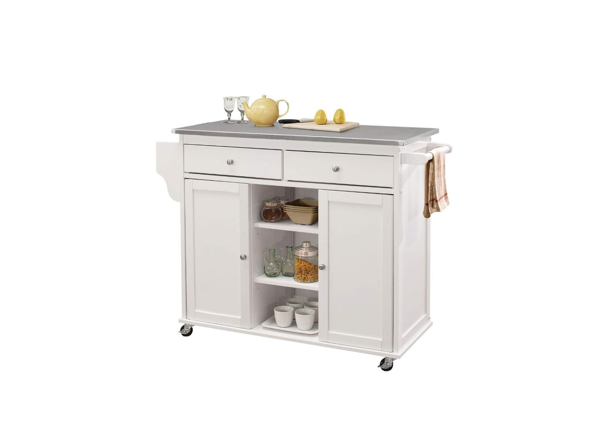Tullarick Stainless Steel & White Kitchen Cart,Acme