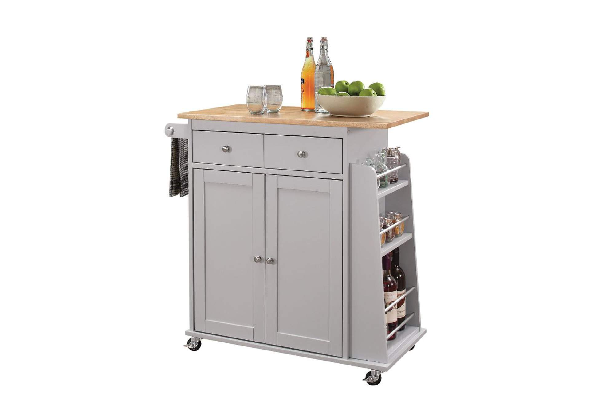 Tullarick Natural/Gray Kitchen Cart,Acme