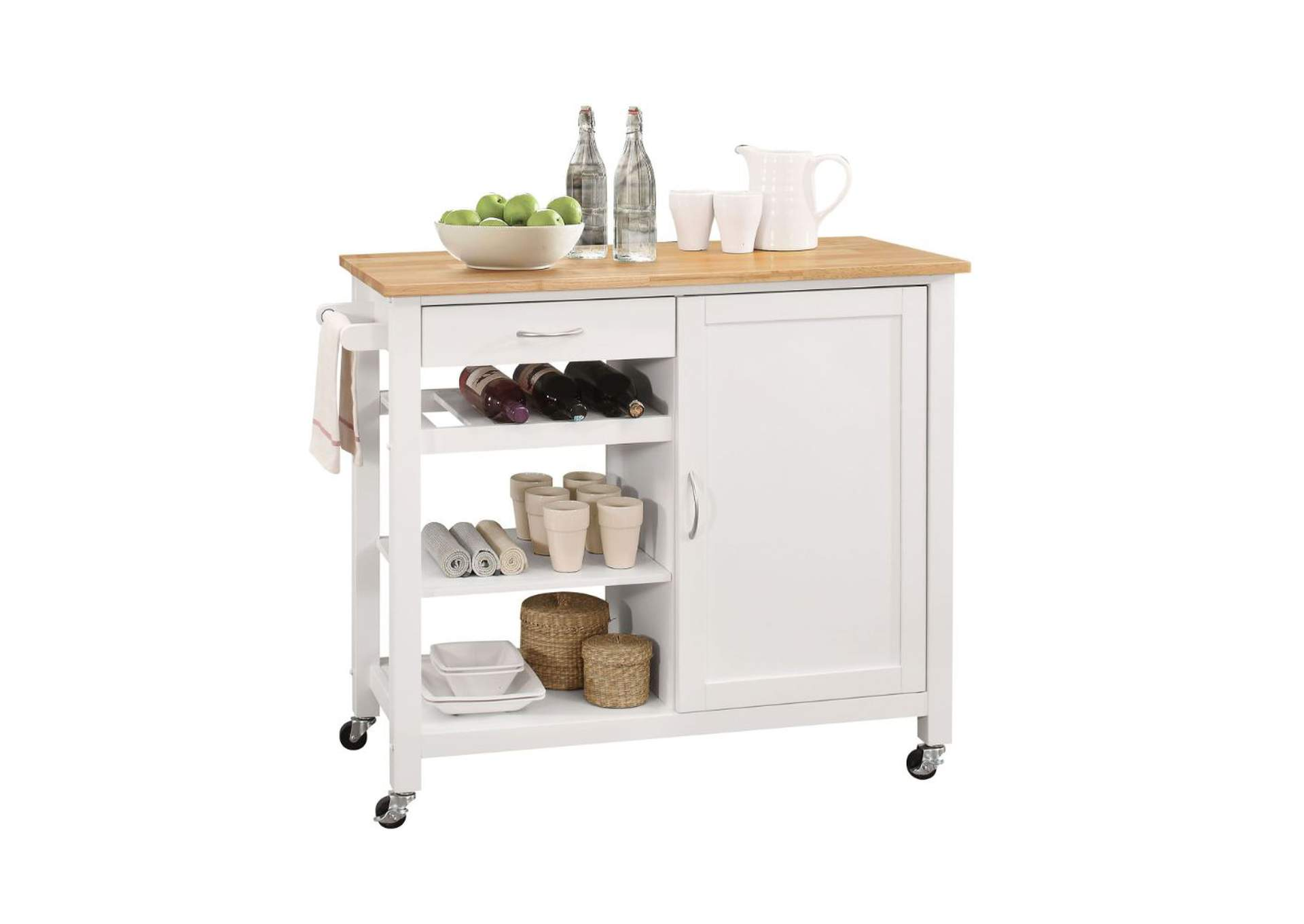 Ottawa Natural & White Kitchen Cart,Acme