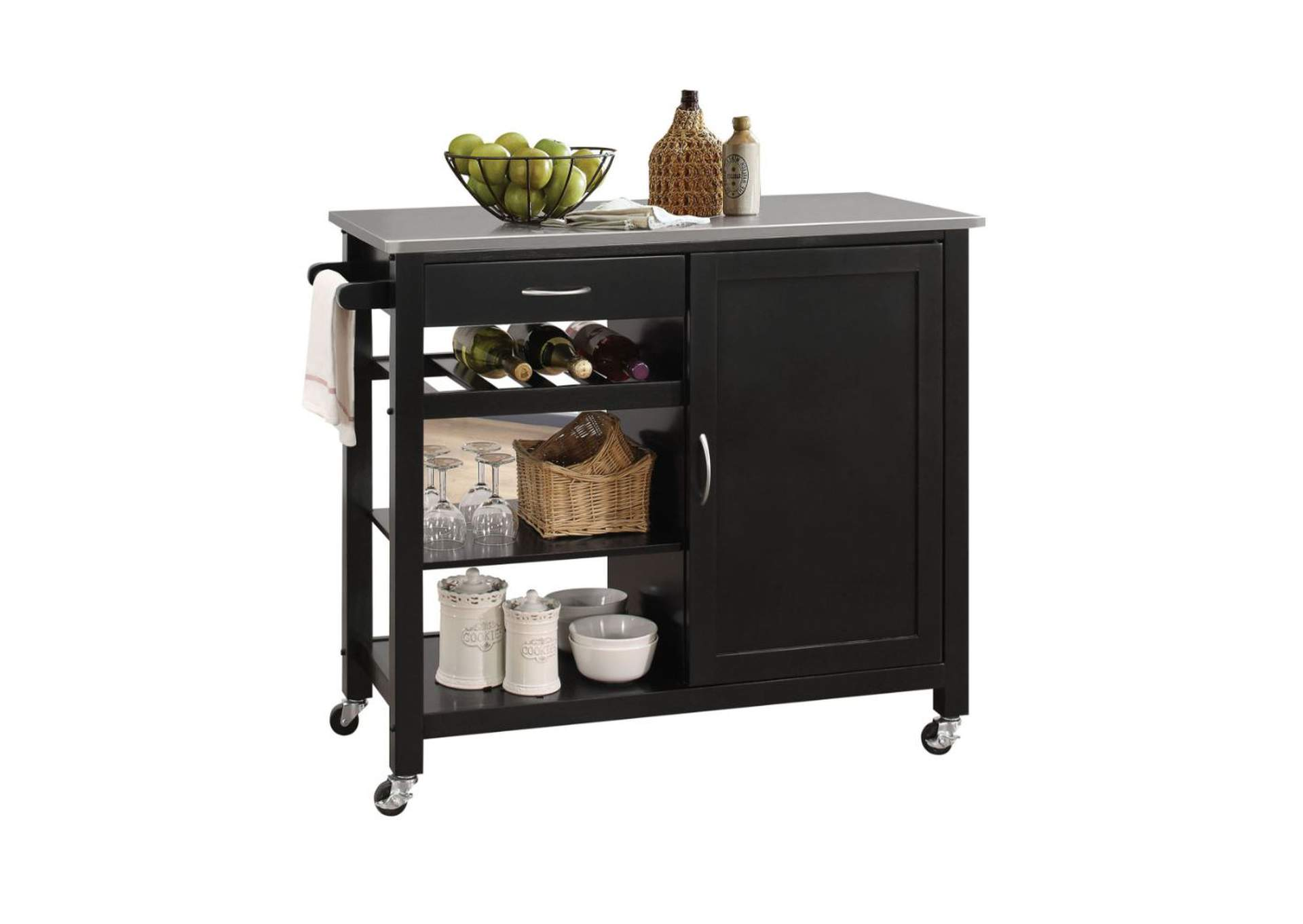Ottawa Stainless Steel/Black Kitchen Cart,Acme