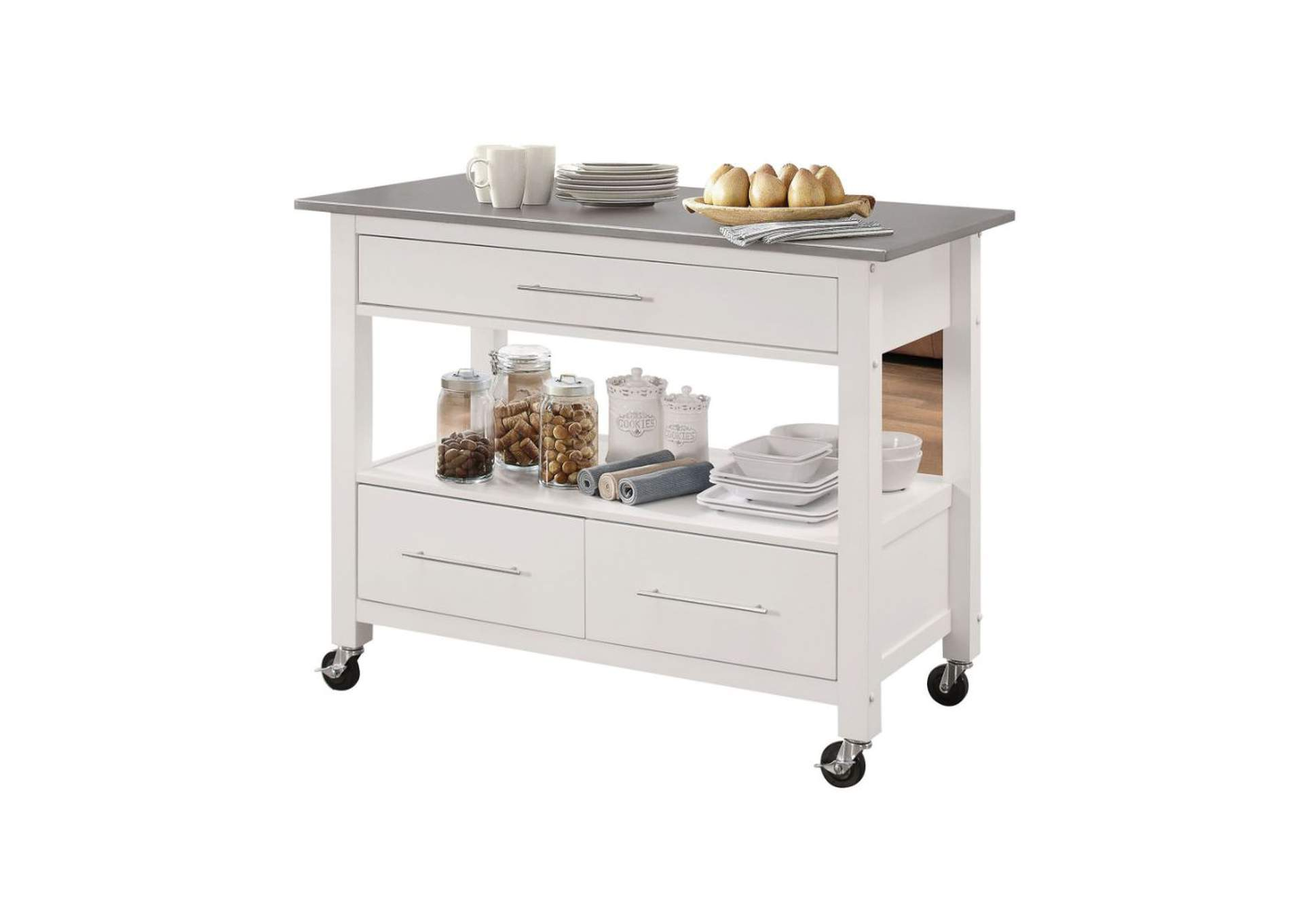 Ottawa Stainless Steel & White Kitchen Cart,Acme