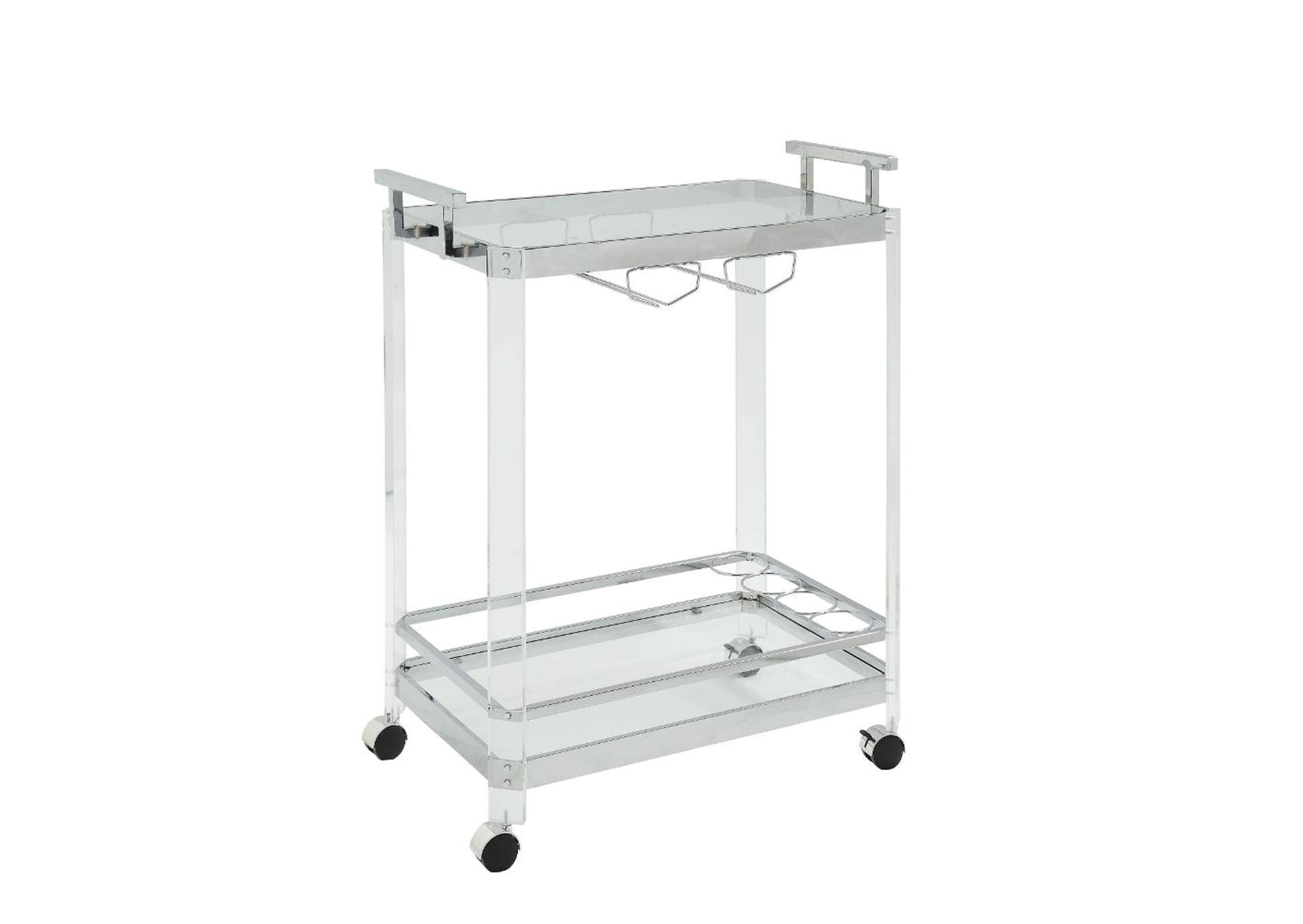Araldo Clear Acrylic, Chrome & Clear Glass Serving Cart,Acme