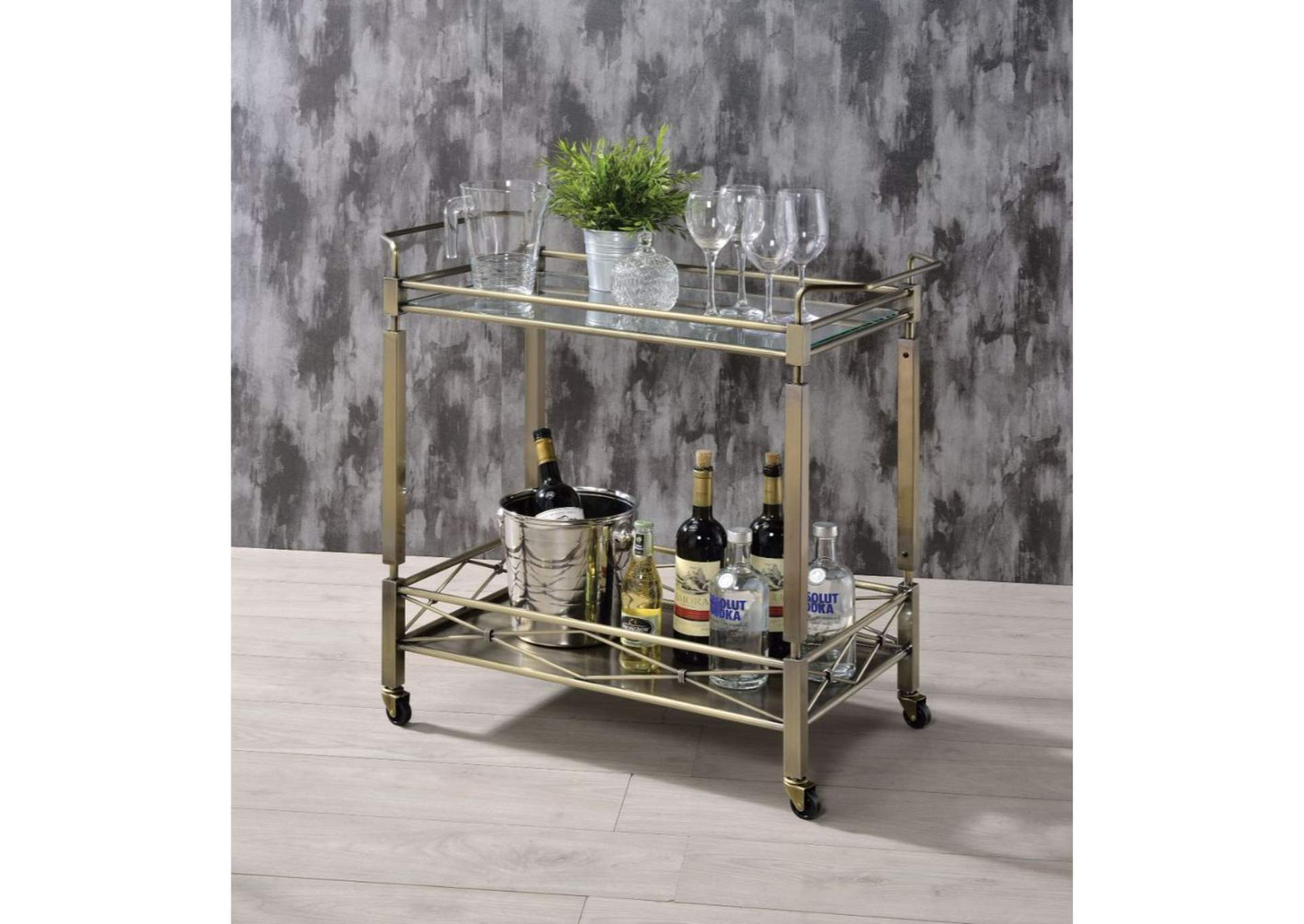Matiesen Antique Gold & Clear Glass Serving Cart,Acme