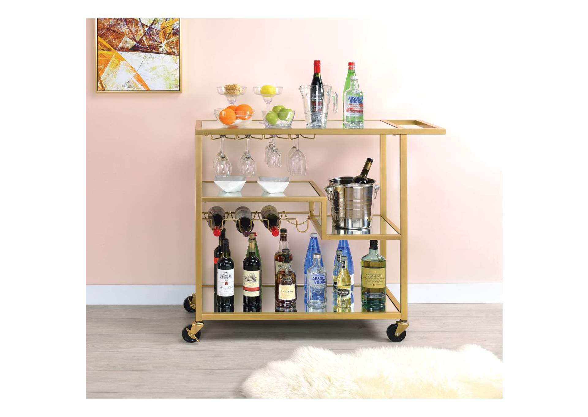 Adamsen Champagne/Mirror Serving Cart,Acme