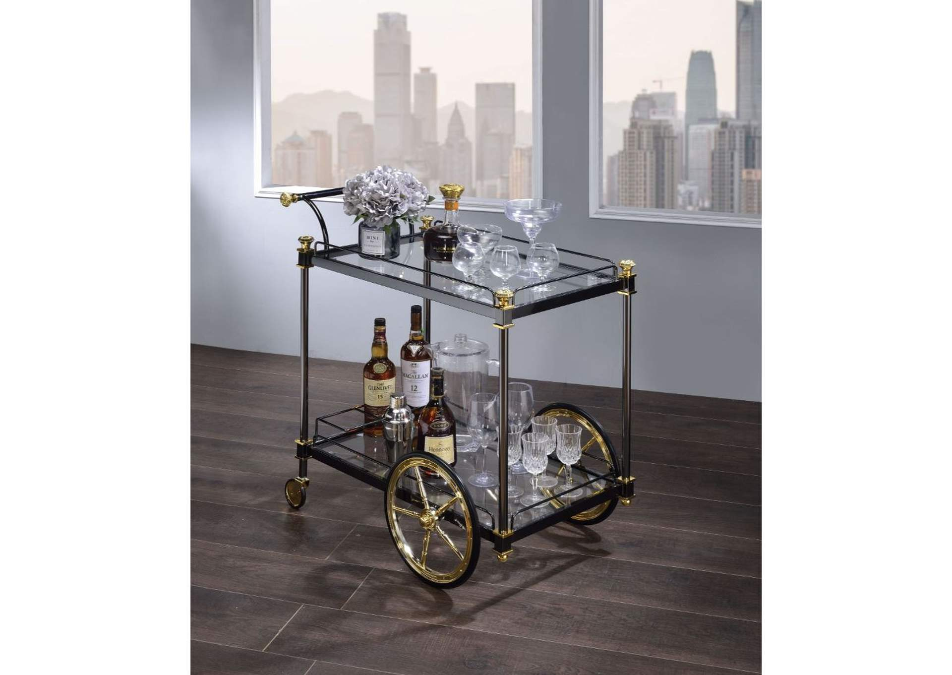 Cyrus Black/Gold & Clear Glass Serving Cart,Acme