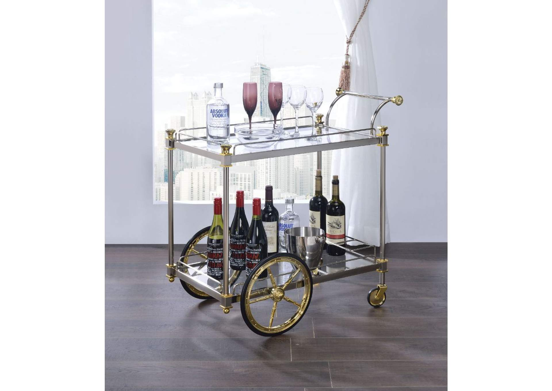 Cyrus Silver/Gold Serving Cart,Acme