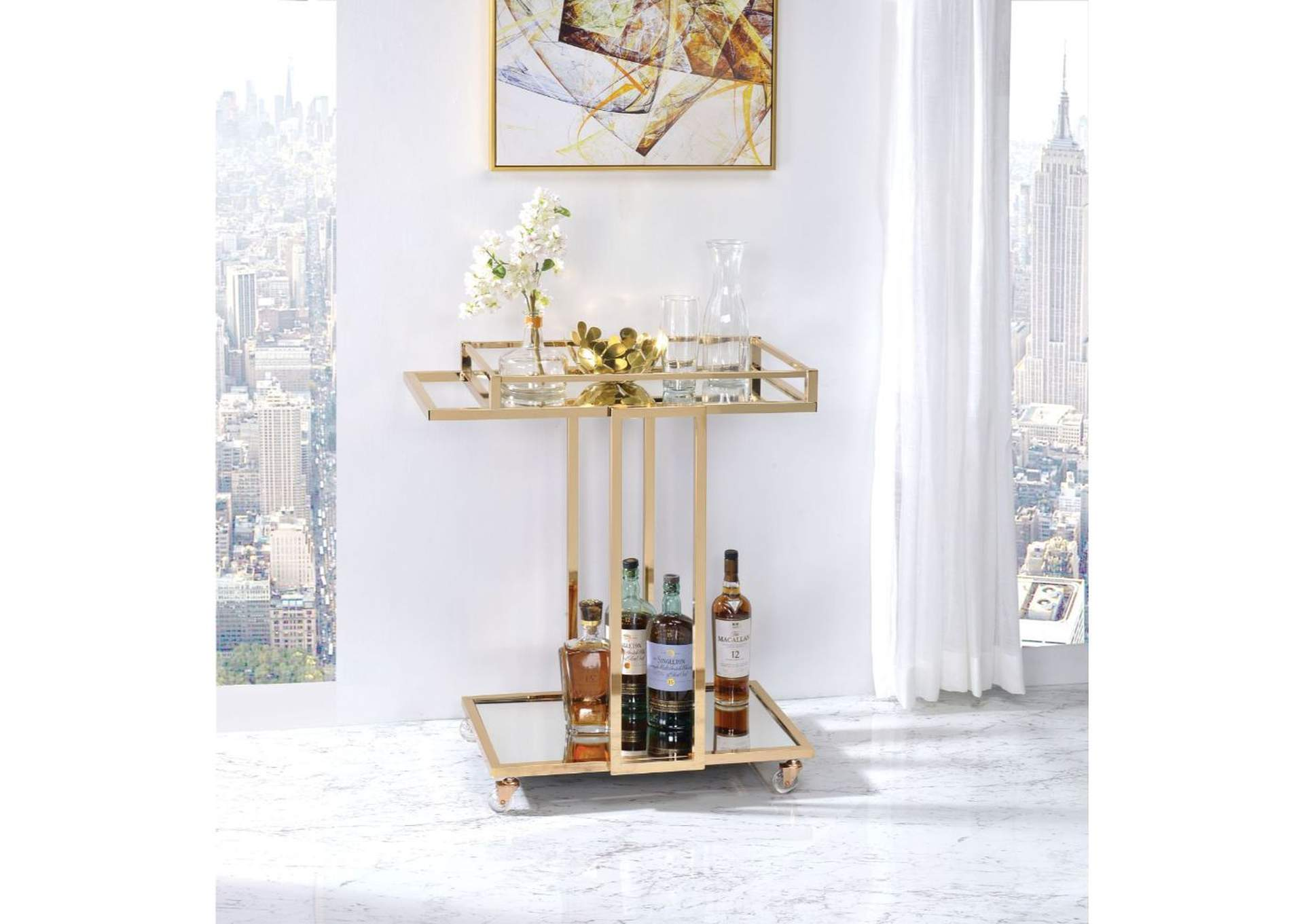 Mendes Gold & Mirror Serving Cart,Acme