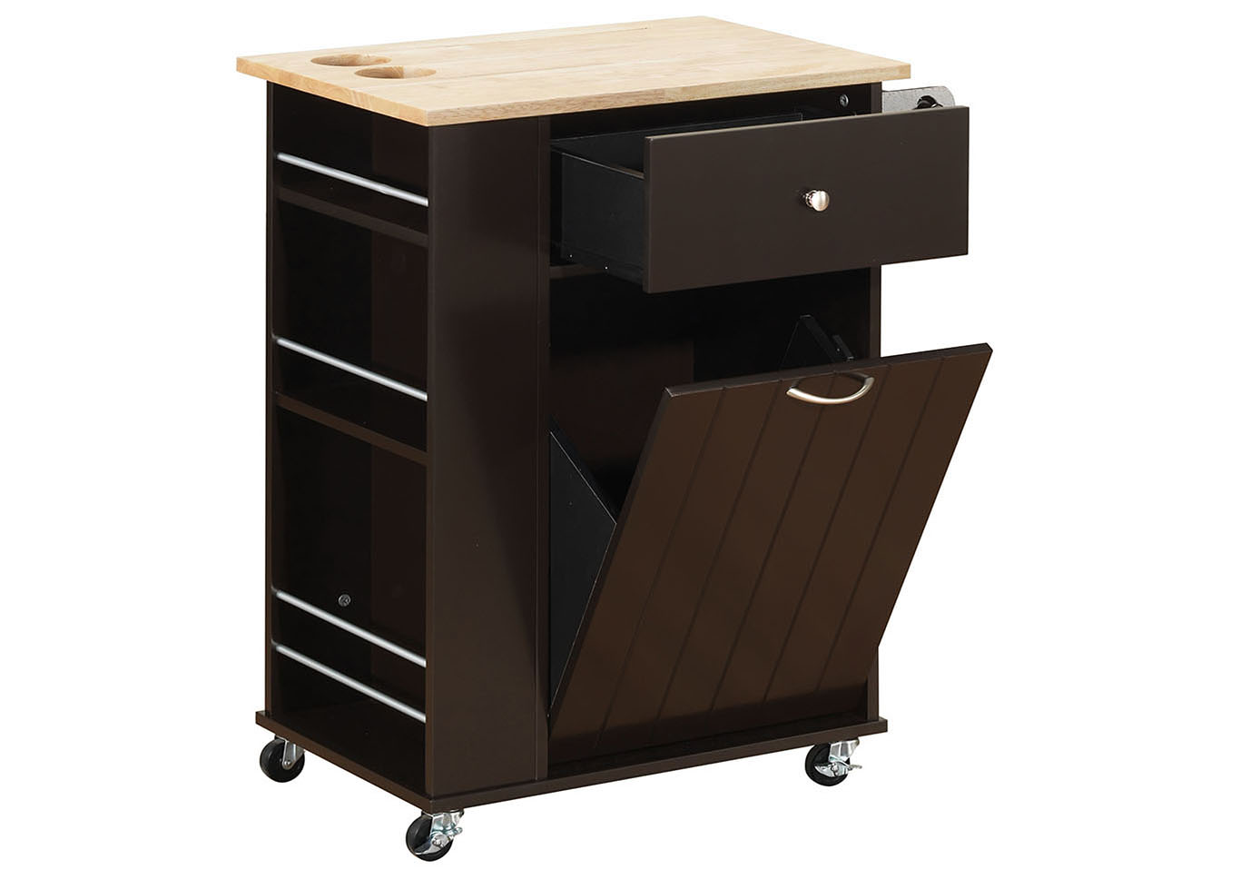 Zina Natural & Wenge Kitchen Cart,Acme