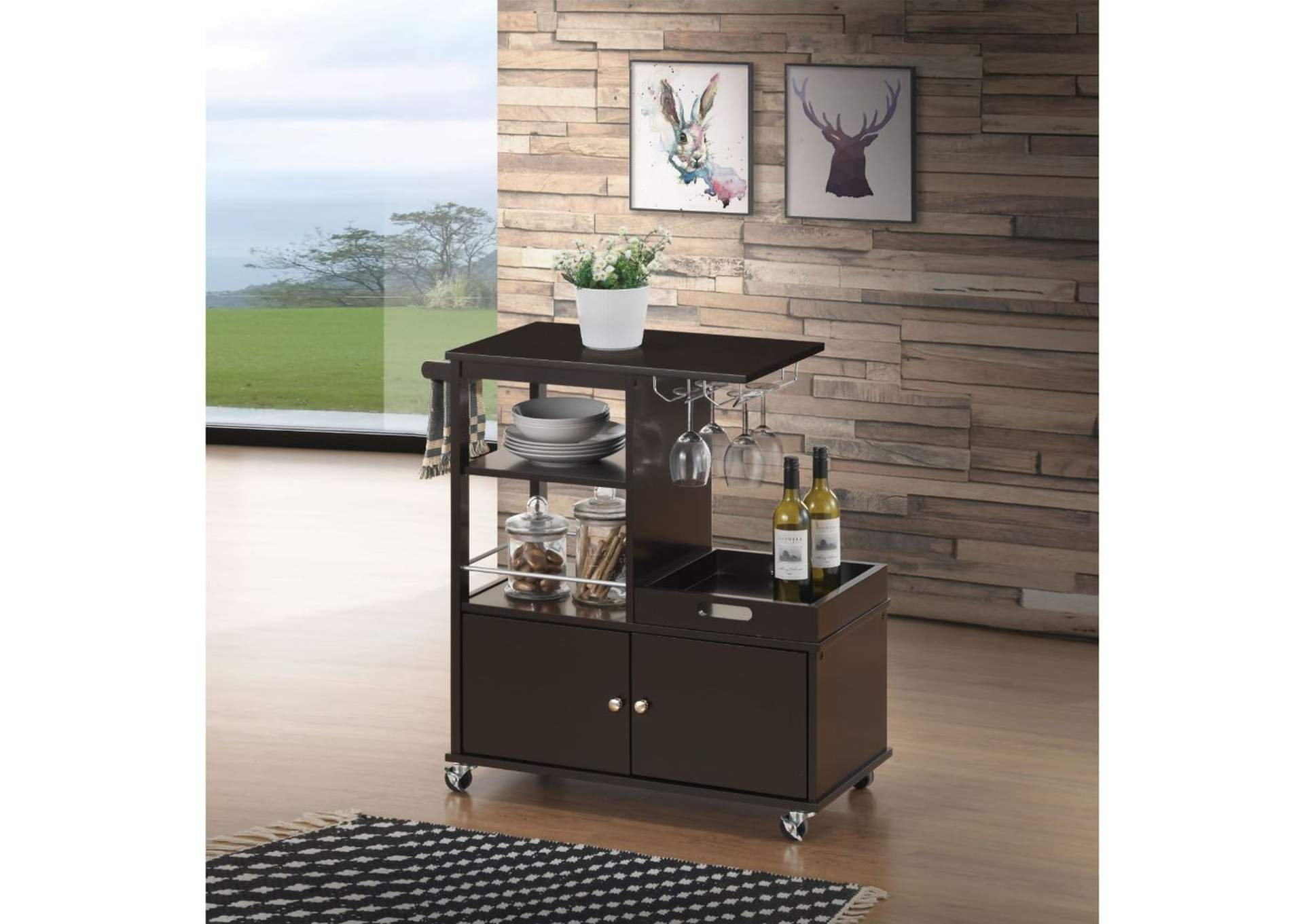 Hadar Wenge Kitchen Cart,Acme