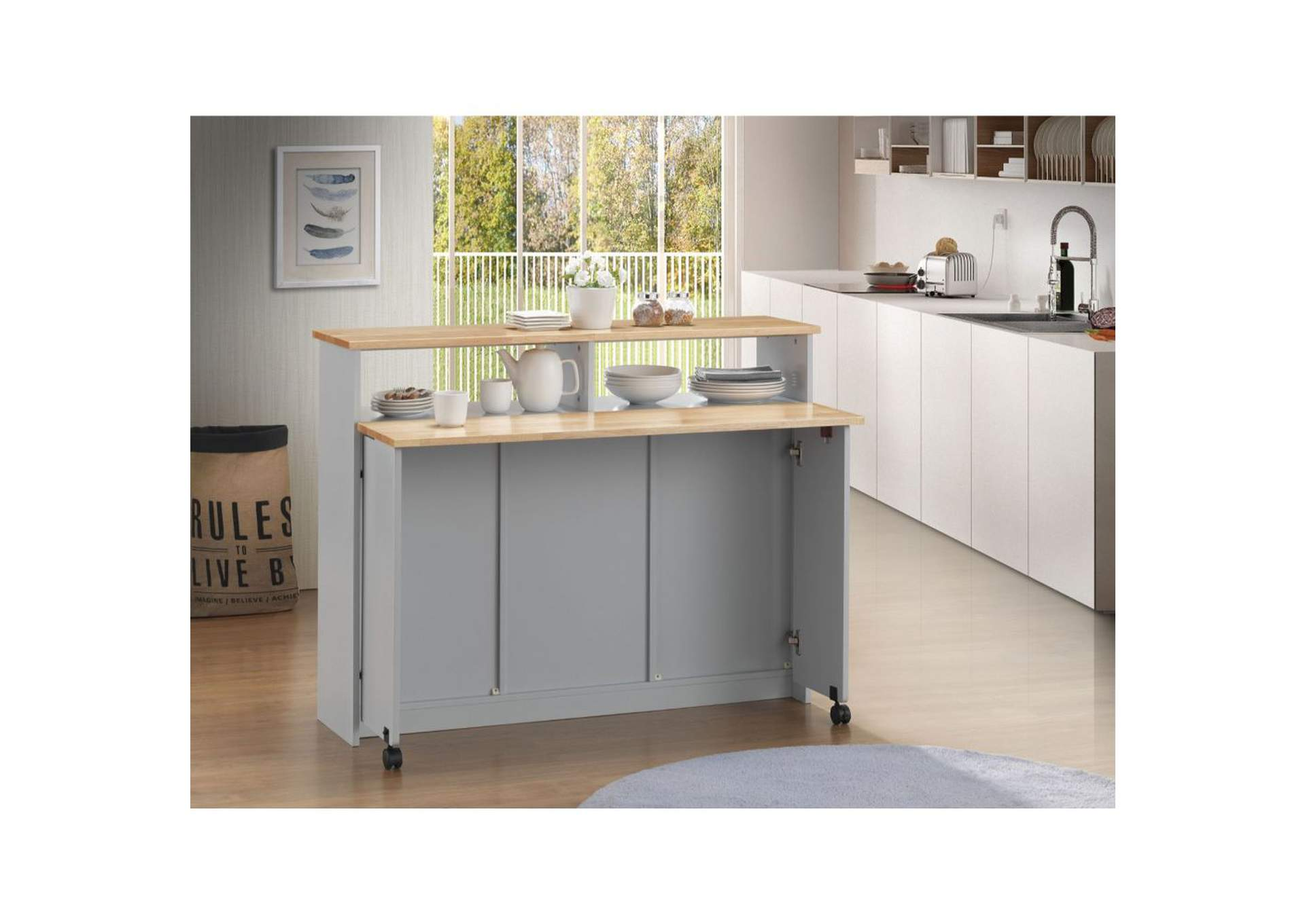 Jorim Natural & Gray Kitchen Cart,Acme