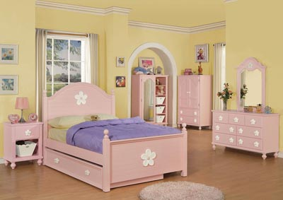Image for Floresville Pink (White Flower) Chest w/Door & Baskets