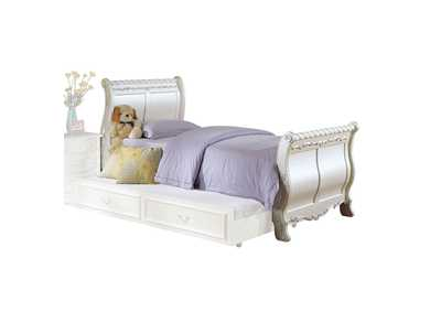 Image for Pearl Pearl White & Gold Brush Accent Twin Bed