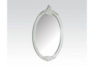 Image for Pearl White/Gold Brush Accent Oval Mirror