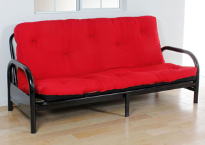 "Image for Nabila Red/Black Full Futon Mattress, 8""H"