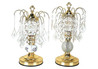 Image for Chandelier Gold & Glass Table Lamp (Set of 2)